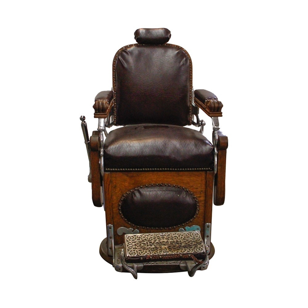 Antique Oak Barber's Chair by Koken