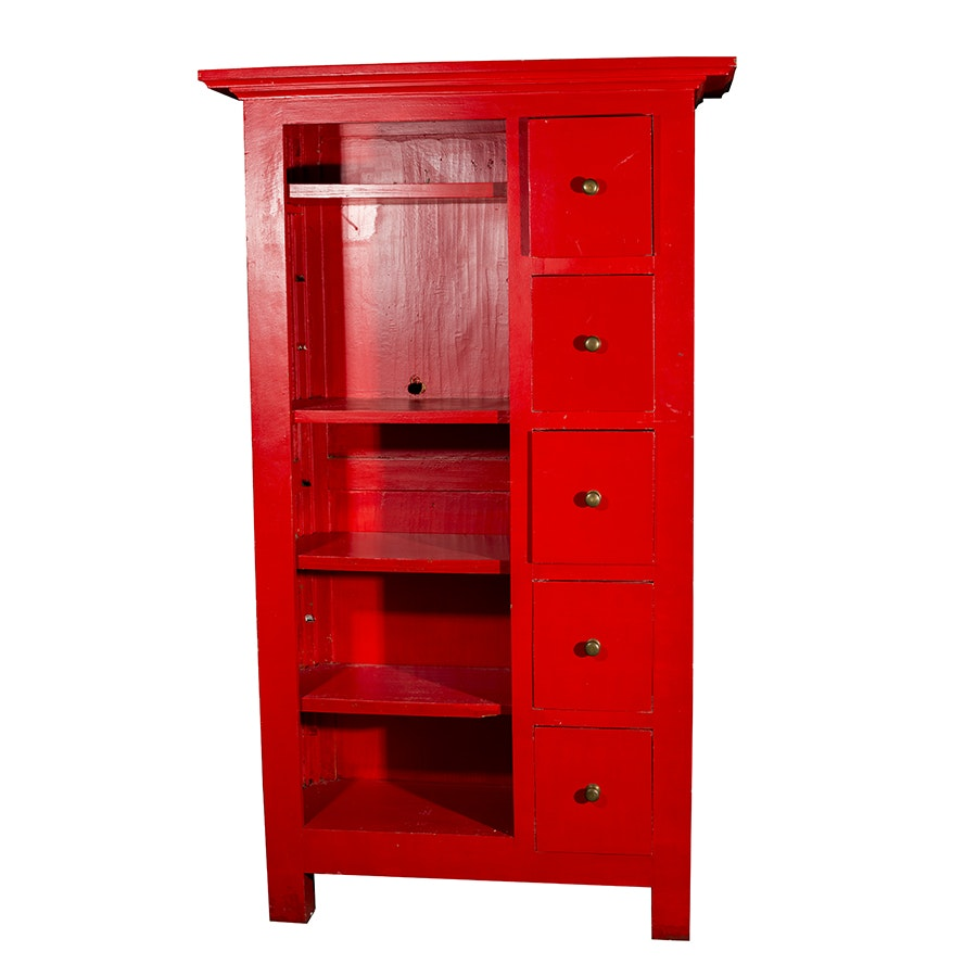 Large Red Chest of Drawers with Shelving