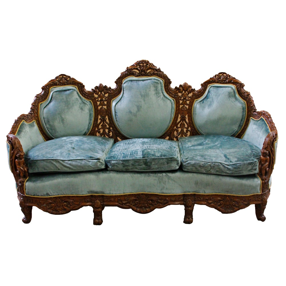Vintage European Triple Medallion Back Carved Walnut And Beach Sofa