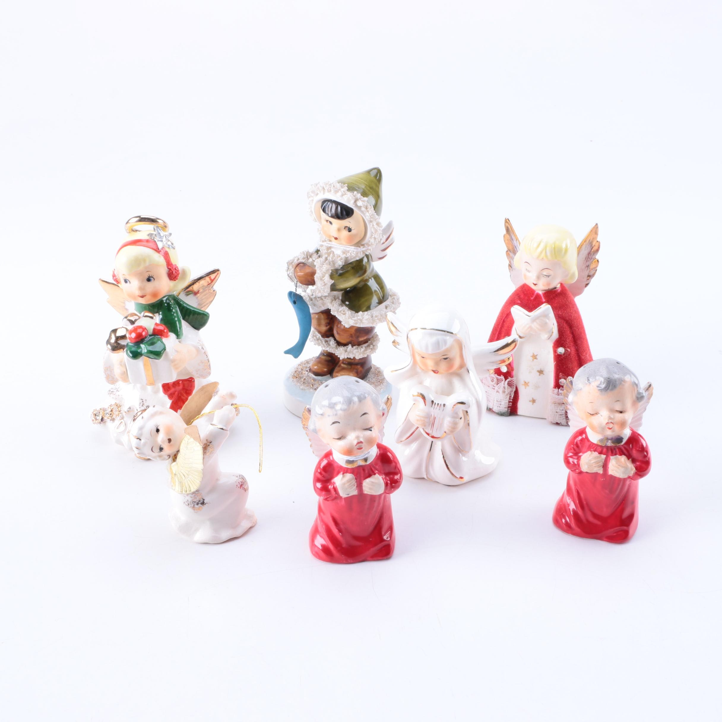 Assortment of Vintage Christmas Angel Porcelain Figurines