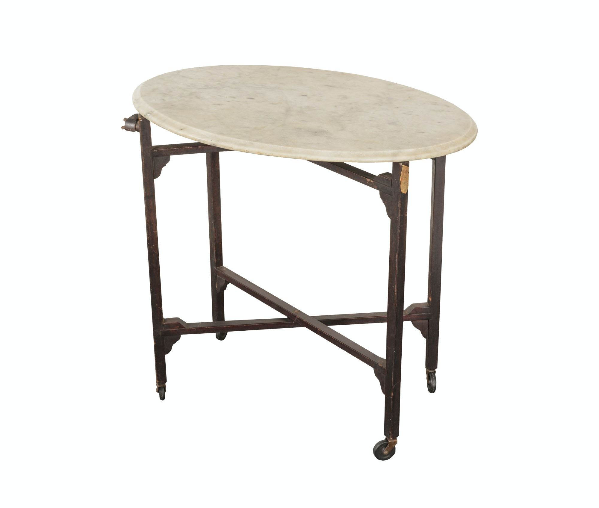 Vintage Marble Top Side Table with Folding Wooden Frame by E.J. Schwabe