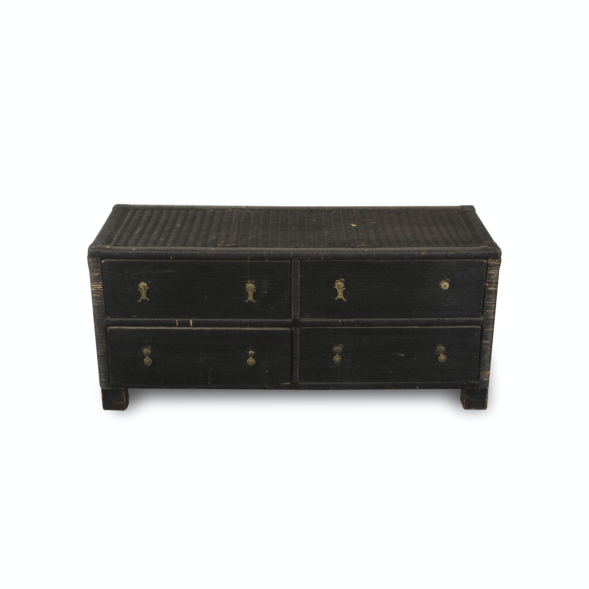 Asian Style Black Wicker Chest of Drawers
