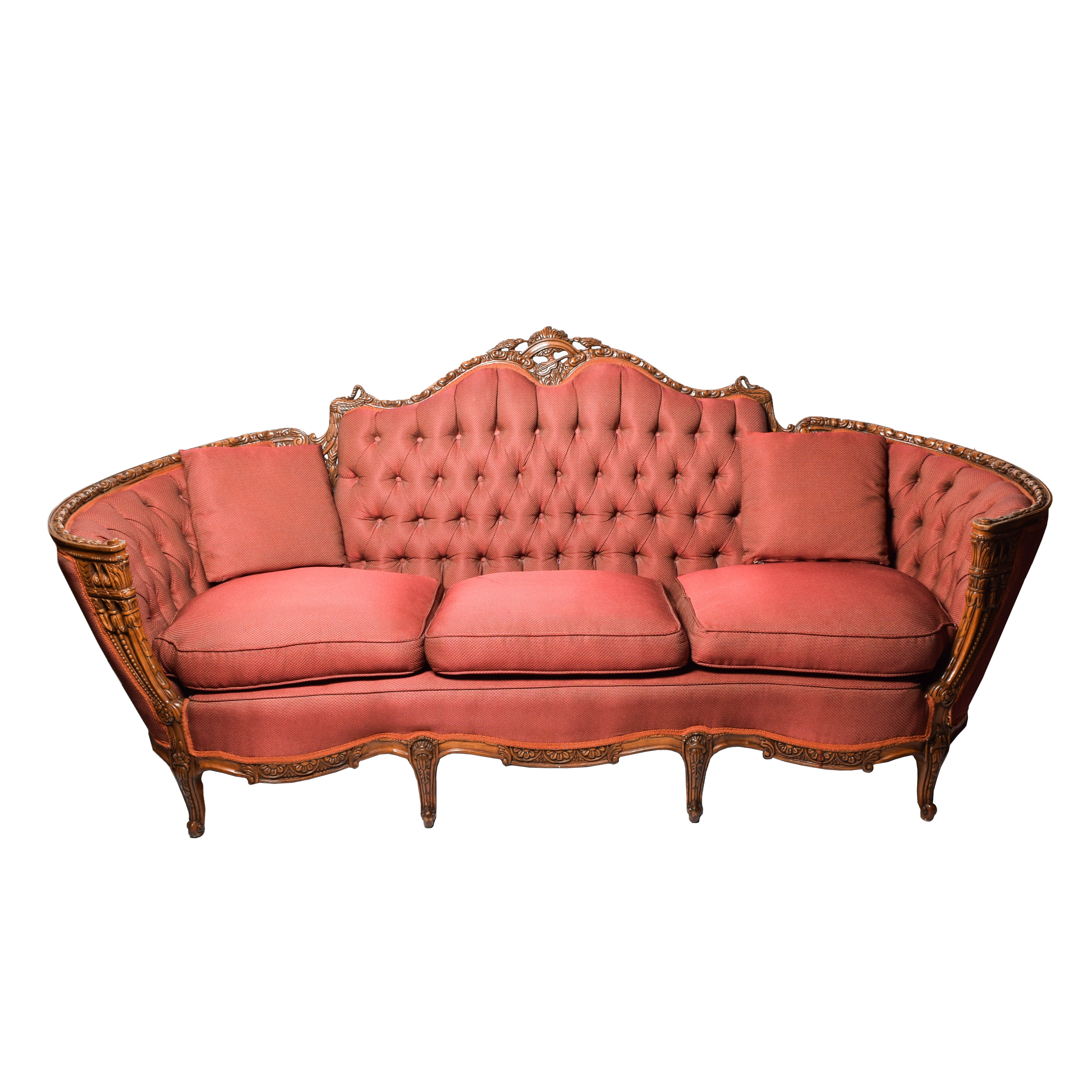 Antique Ornately Carved Victorian Upholstered Sofa