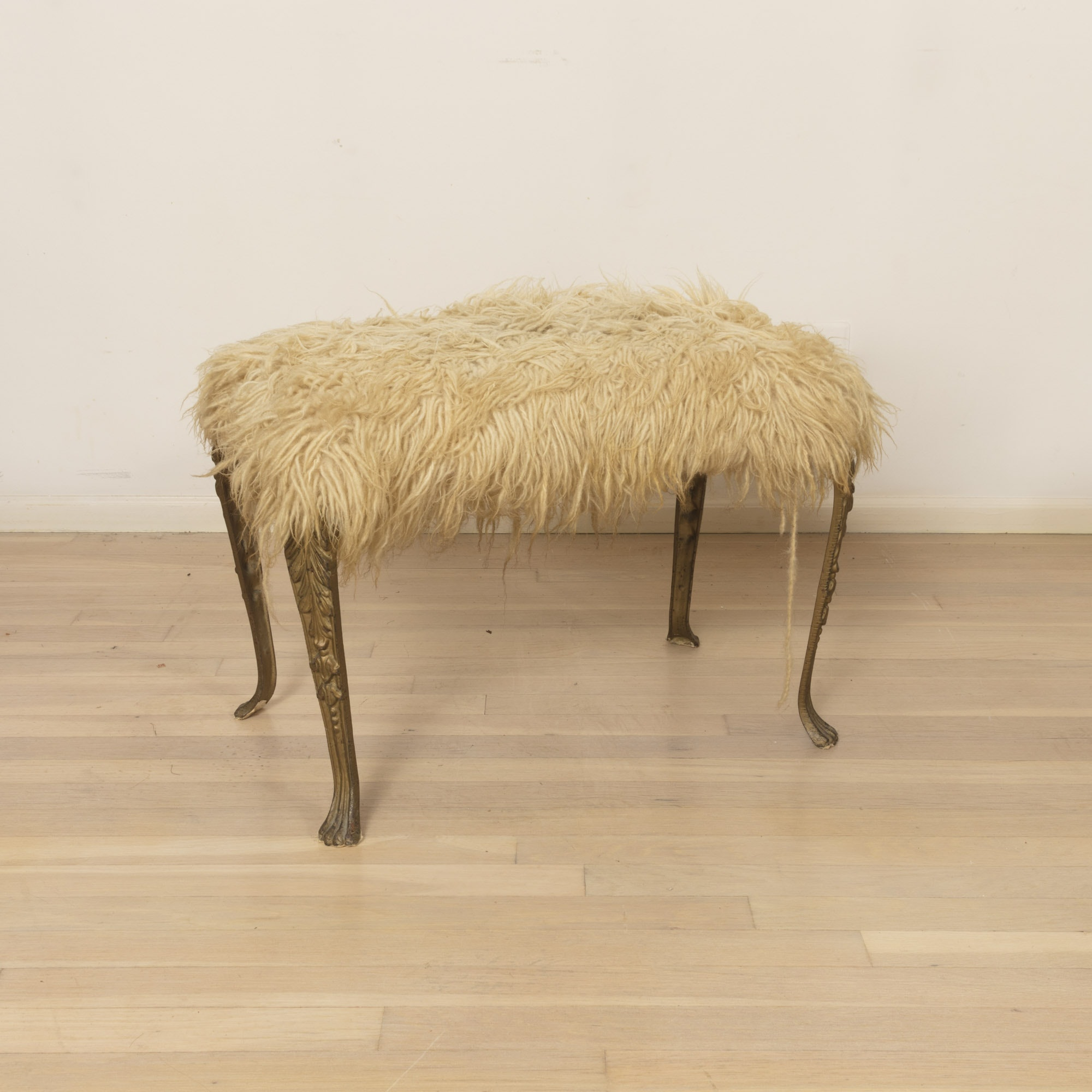 Woolly Faux Fur Upholstered Bench