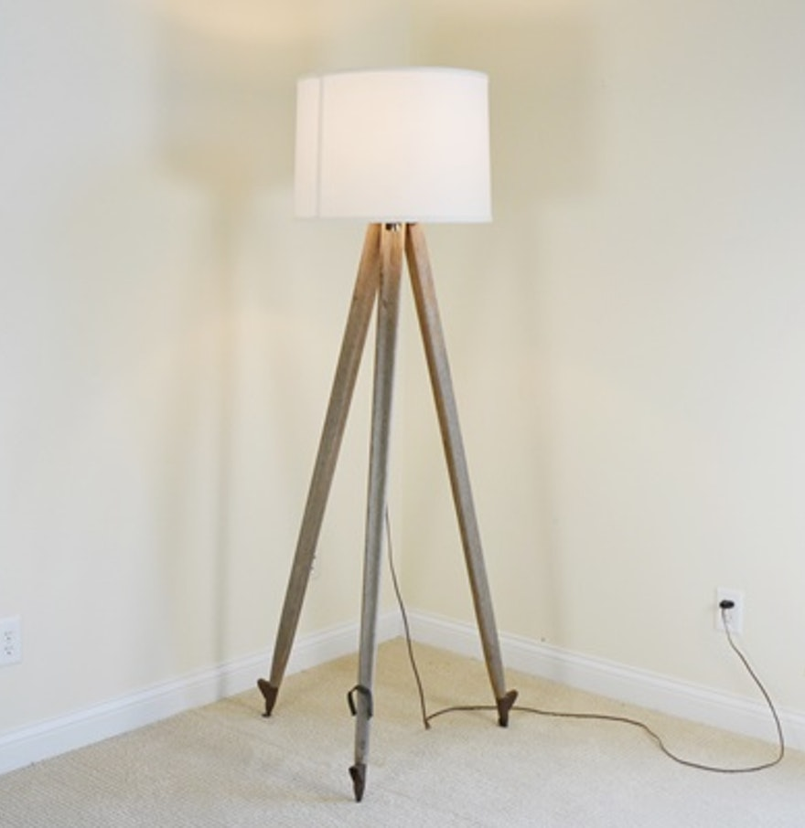 Surveyor39s tripod style floor lamp ebth for Surveyors floor lamp wood