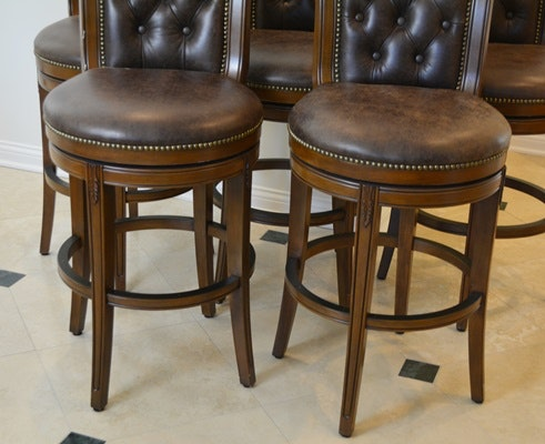 Frontgate Leather Swivel Bar Stools Ebth