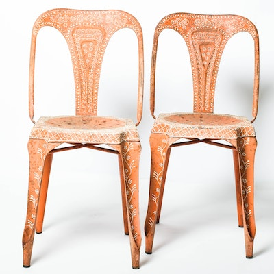 Indian Mid-Century Painted Metal Chairs