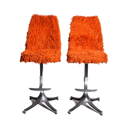 Vintage Stools with Shag Upholstery