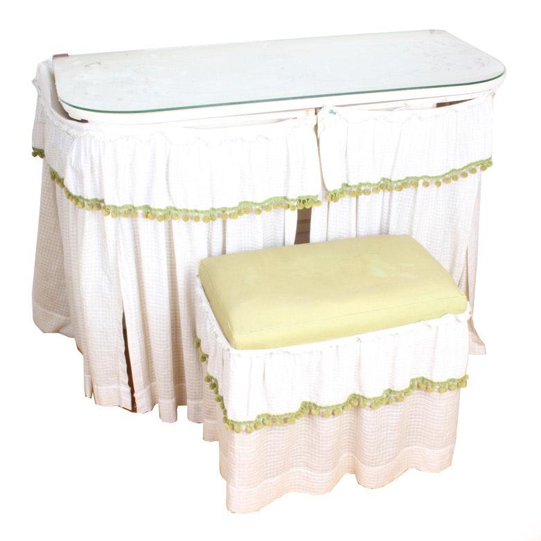 Vintage Vanity Table and Stool