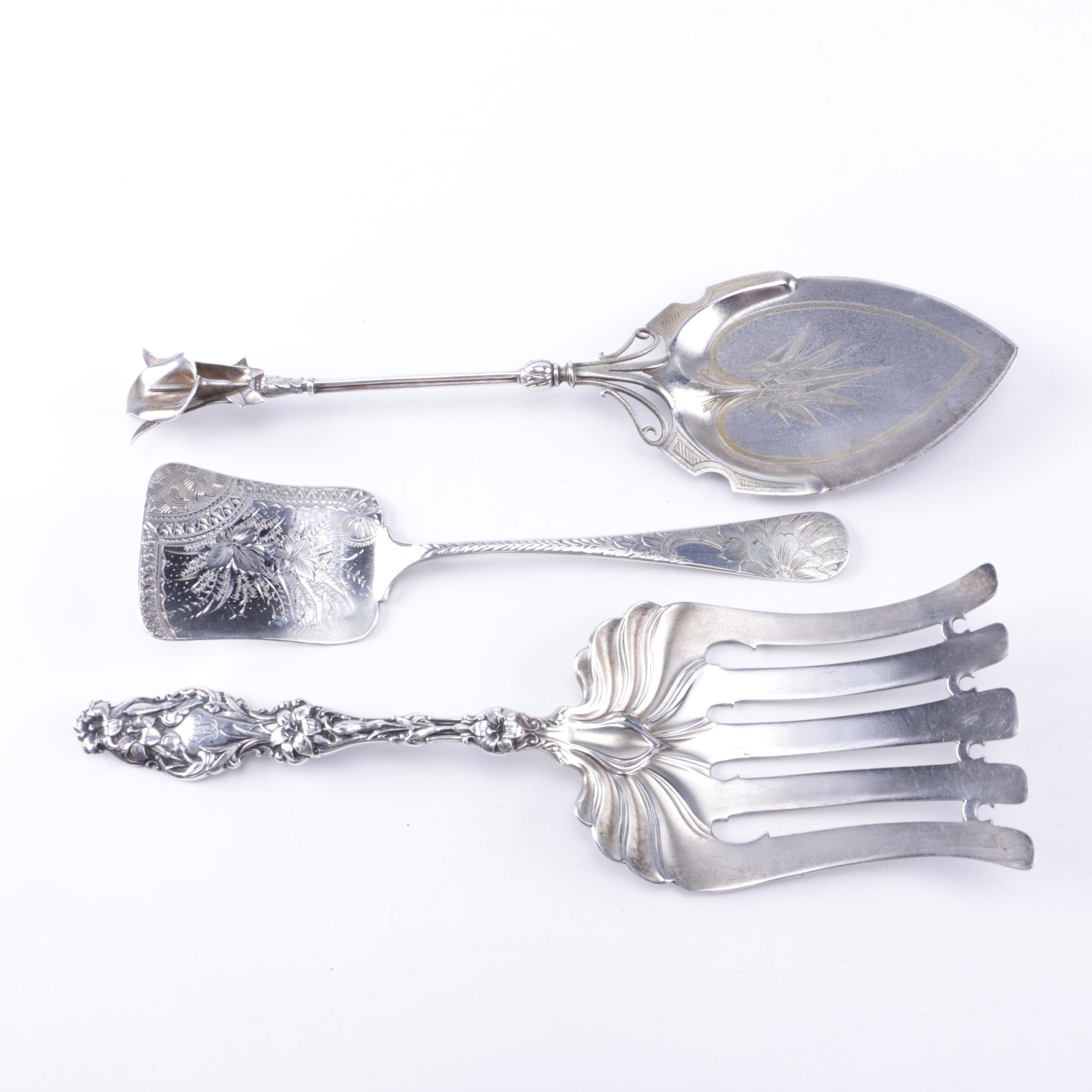 Antique Whiting Manufacturing Co. Sterling Serving Utensils with Cake Server