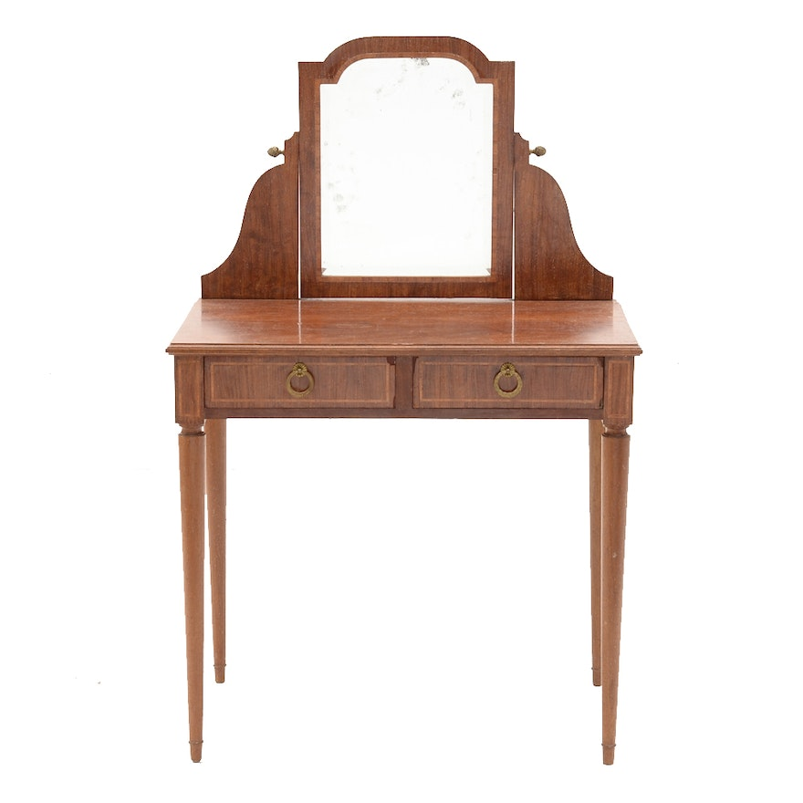 Vintage Mahogany Two Drawer Dressing Table With Mirror Ebth