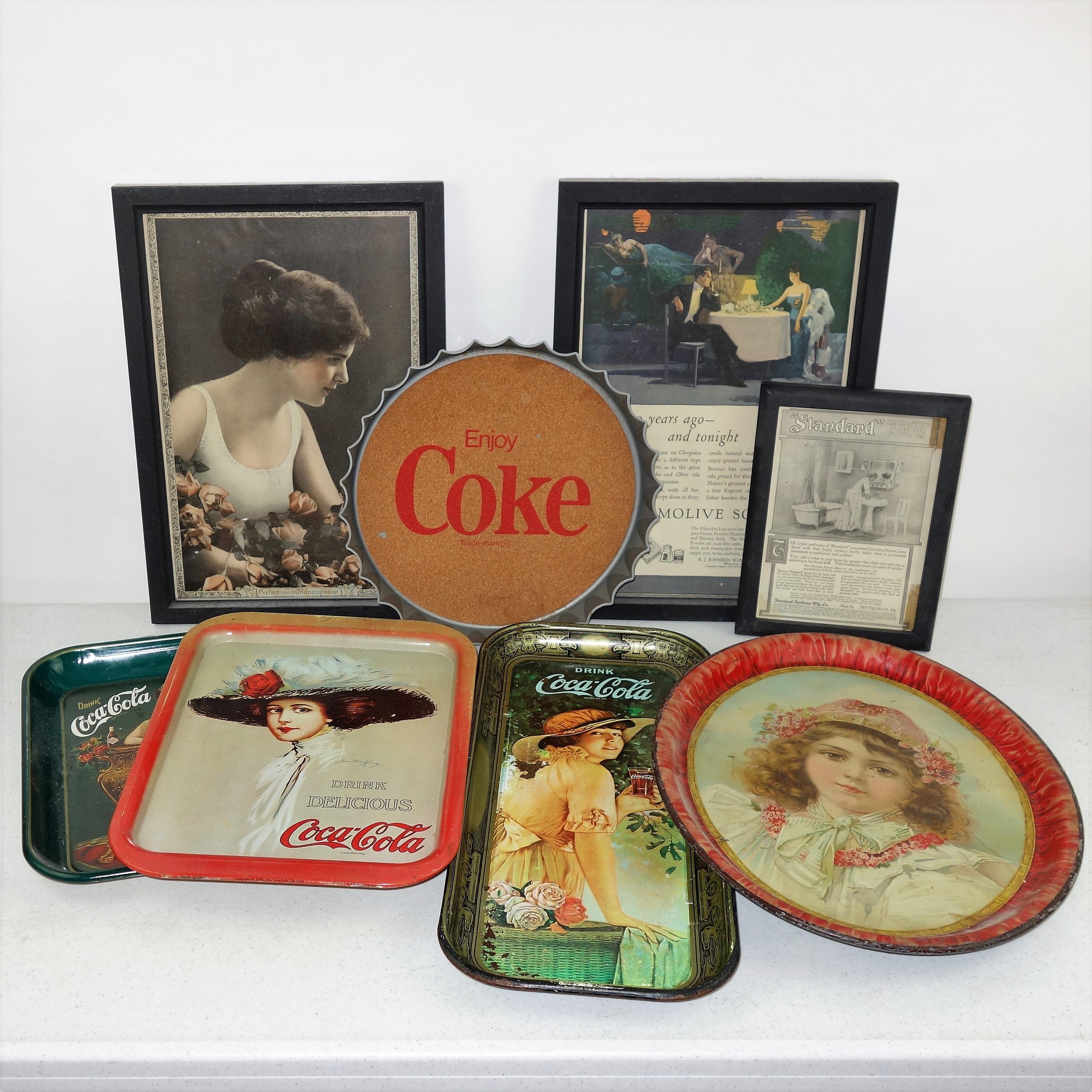 Vintage Coca-Cola Tins and Framed Advertisements