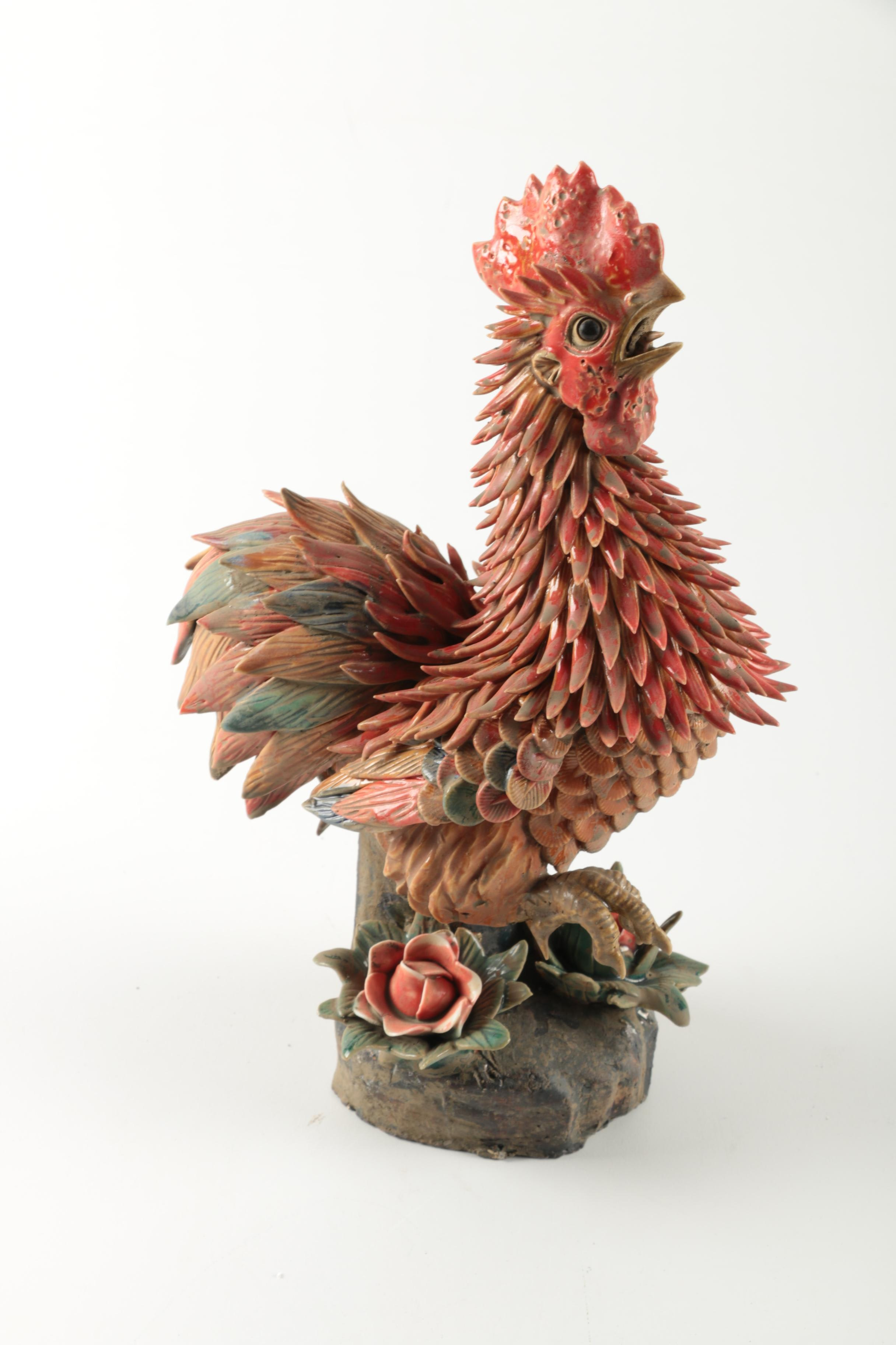 Stone And Metal Chinese Rooster Statue Ebth