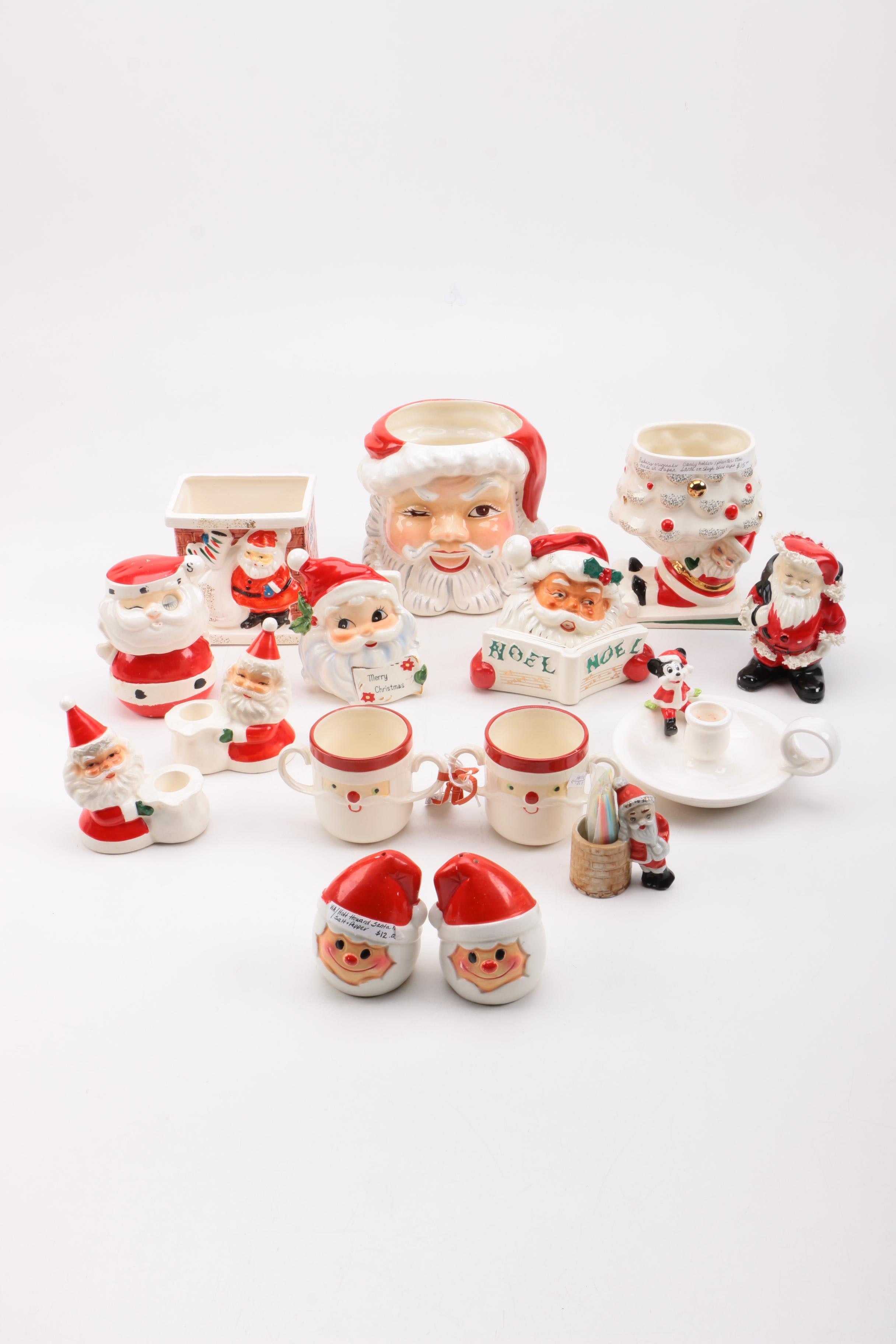 Assorted Vintage Santa Decor
