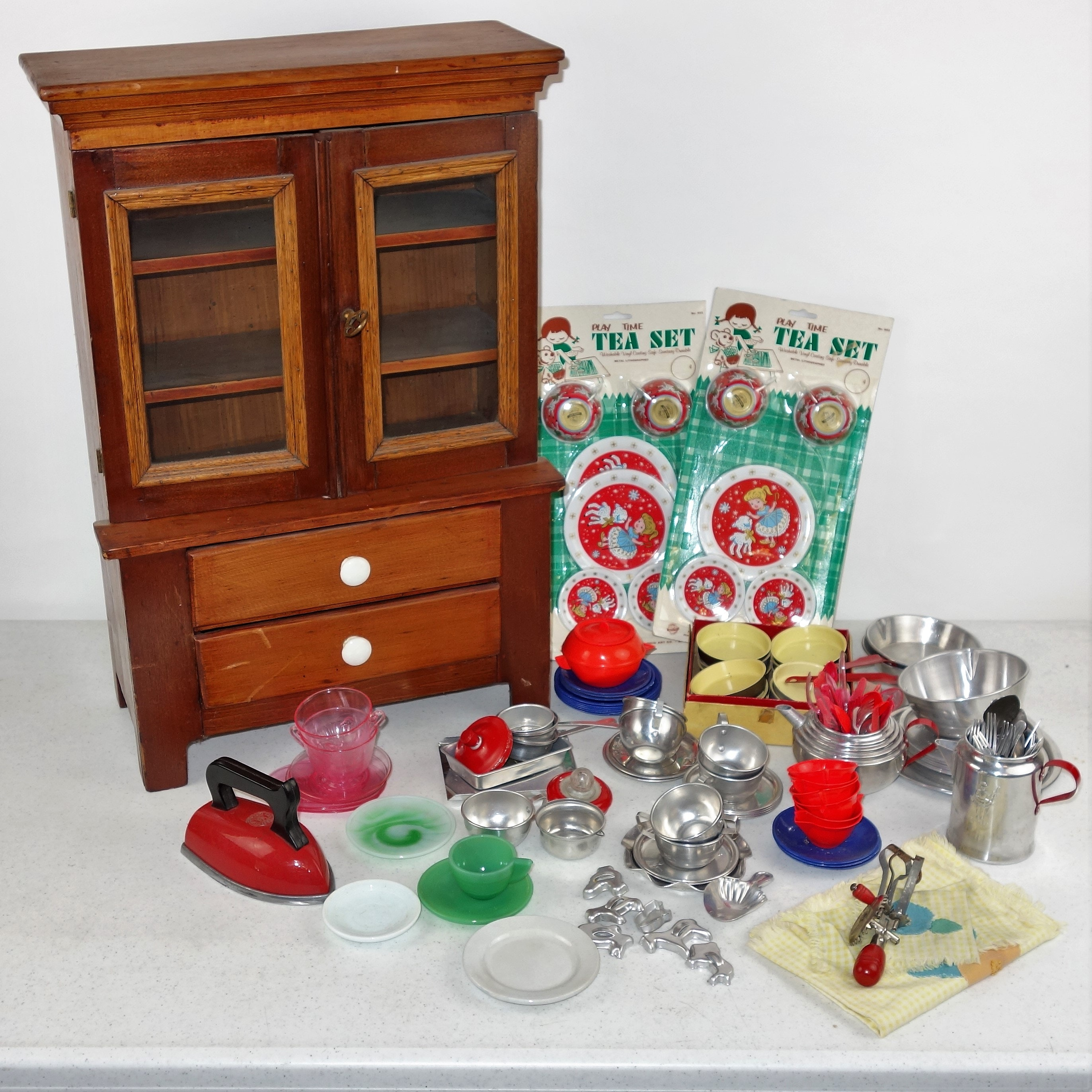 Child's Vintage Wood China Cabinet and Play Dishes