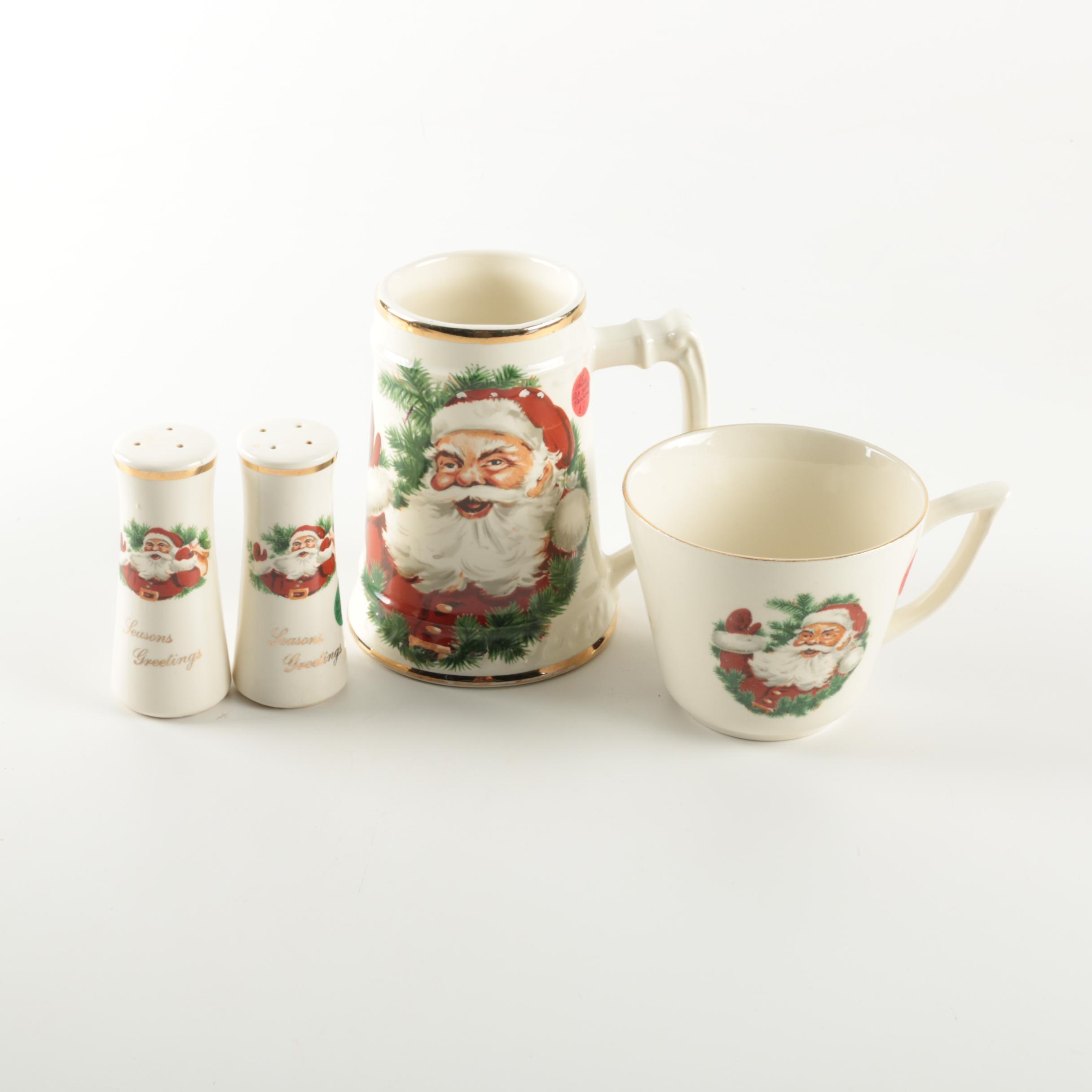 Vintage Santa-Themed Ceramic Tableware