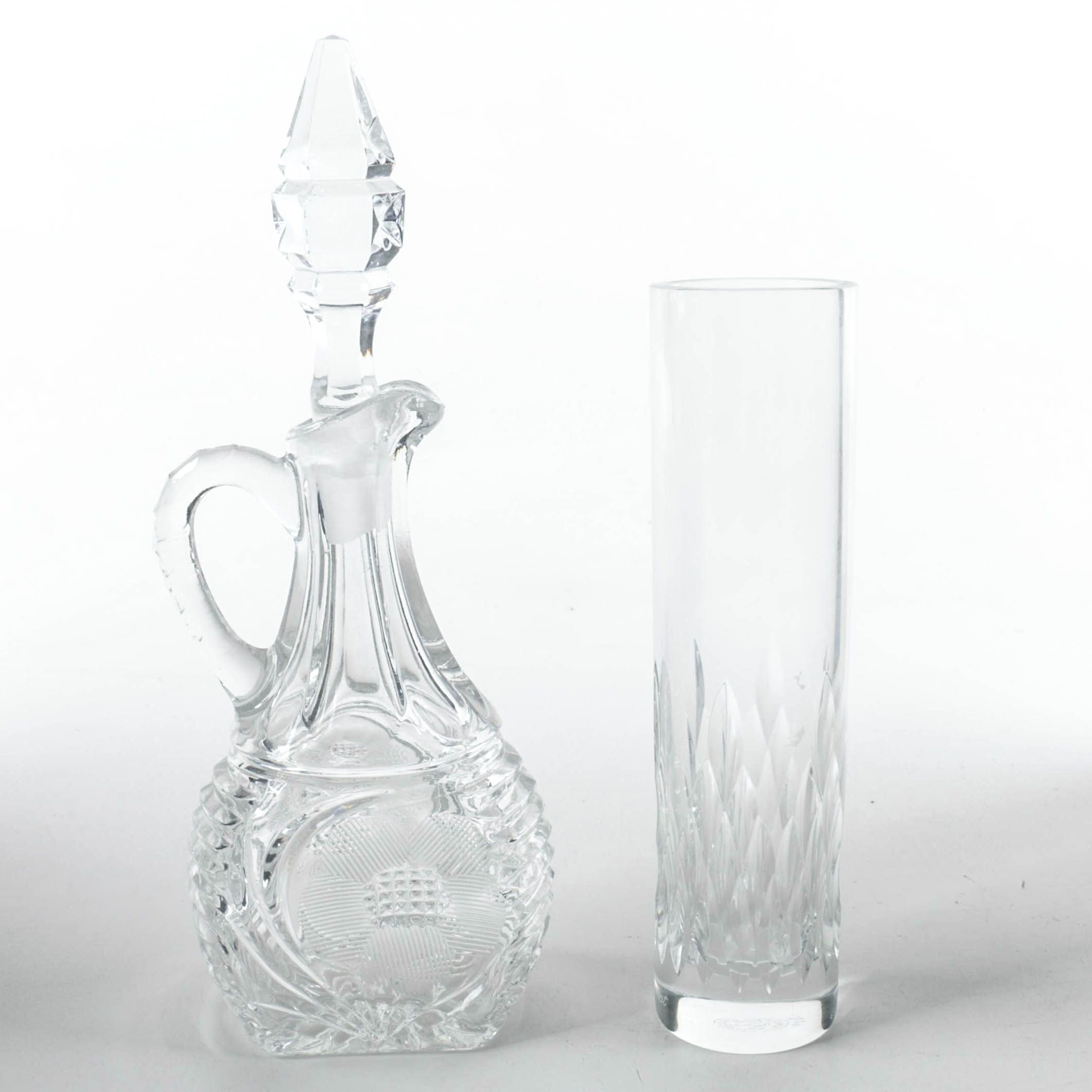 "Crystal Cruet and Baccarat Crystal ""Nemours"" Bud Vase"