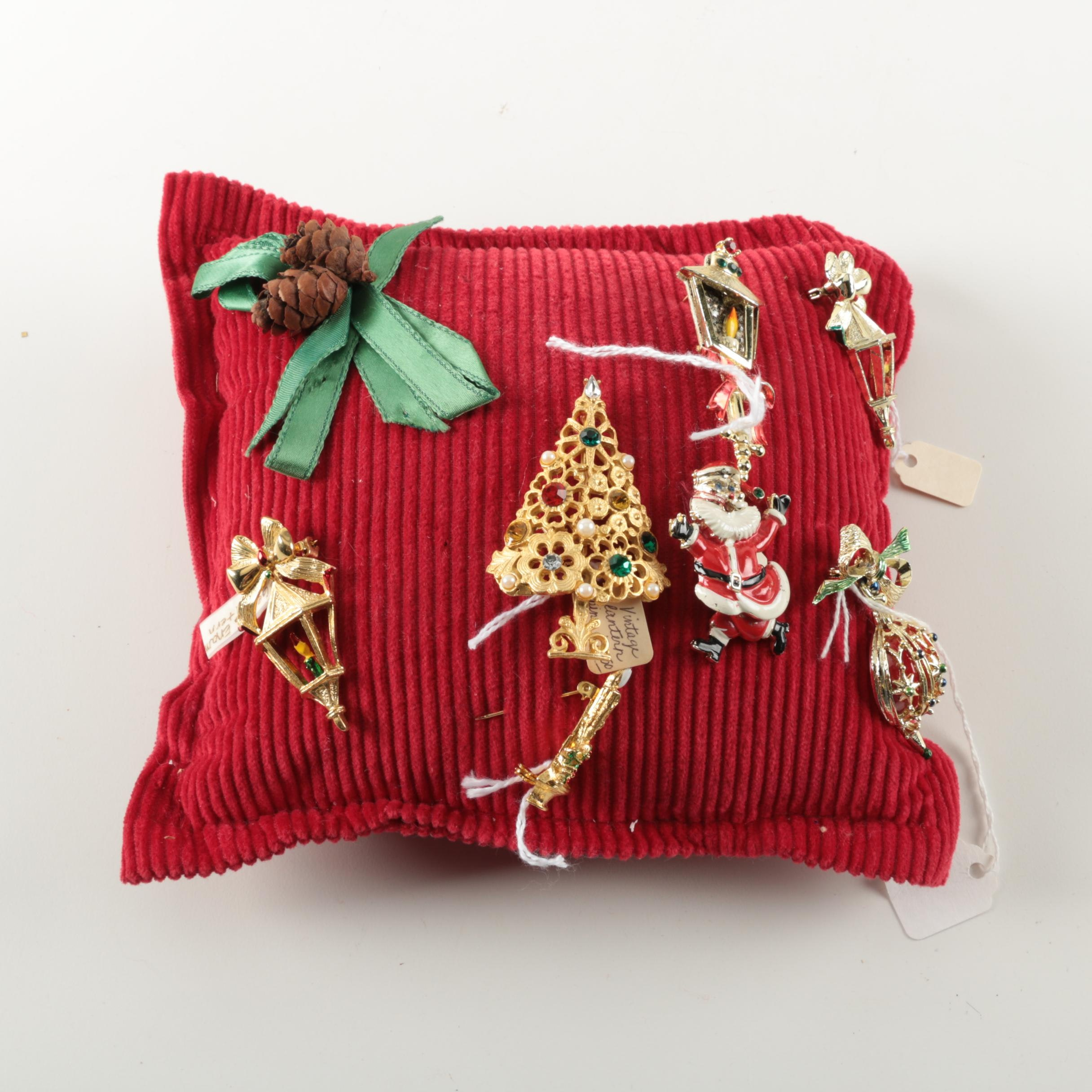 Throw Pillow with Christmas Themed Pins