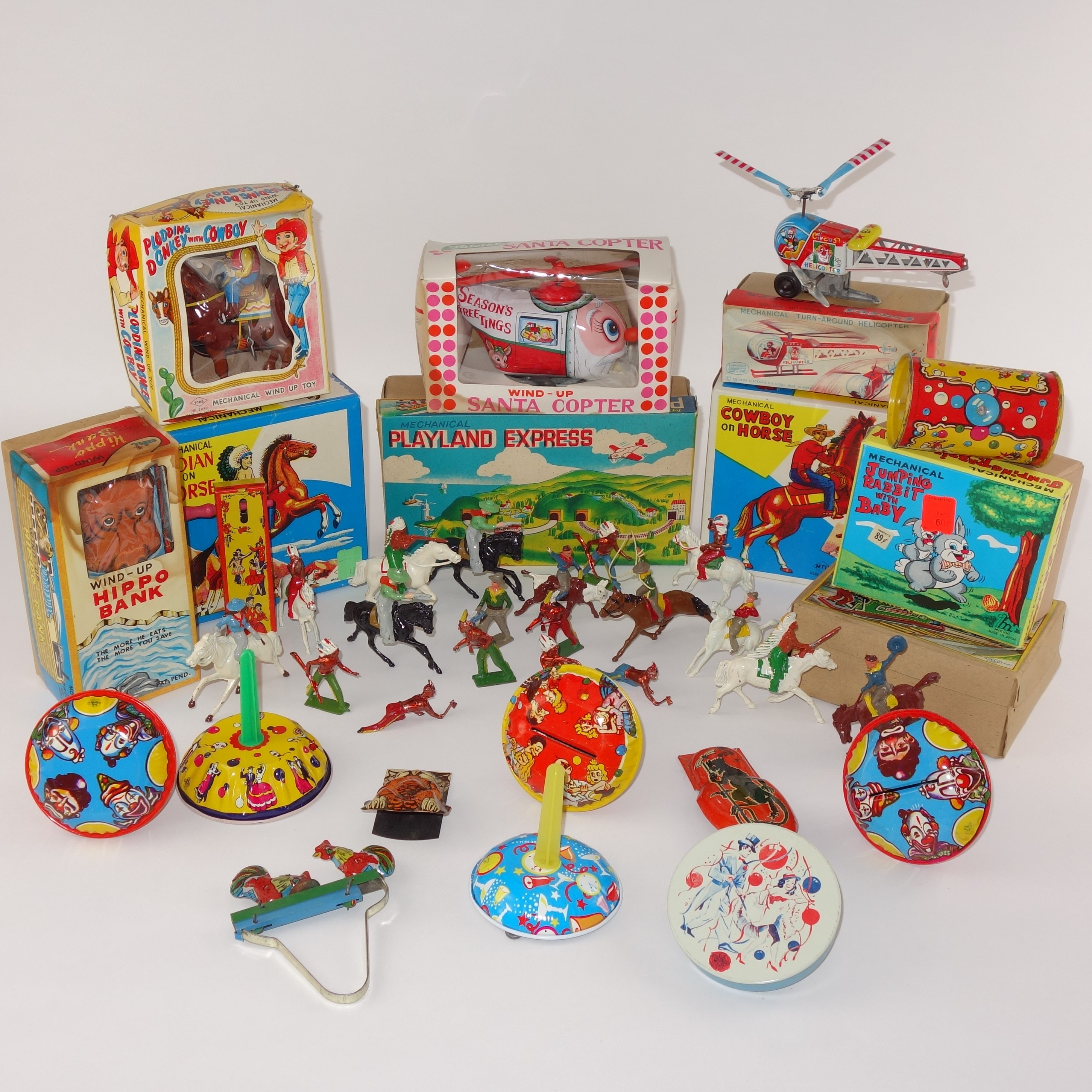 Wind Up Toys, Noismakers and Metal Cowboys and Indians