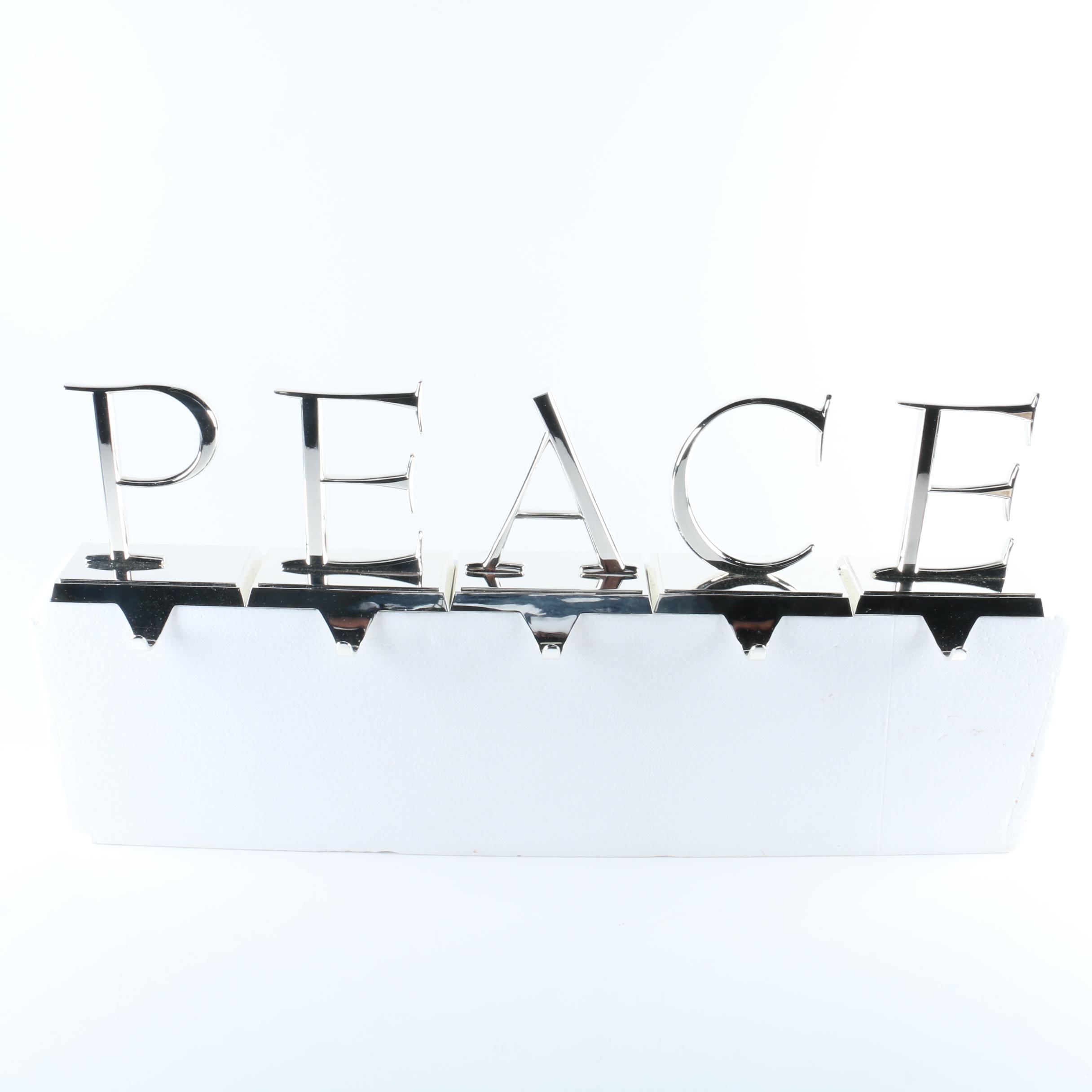 "Pottery Barn ""PEACE"" Stocking Holders"
