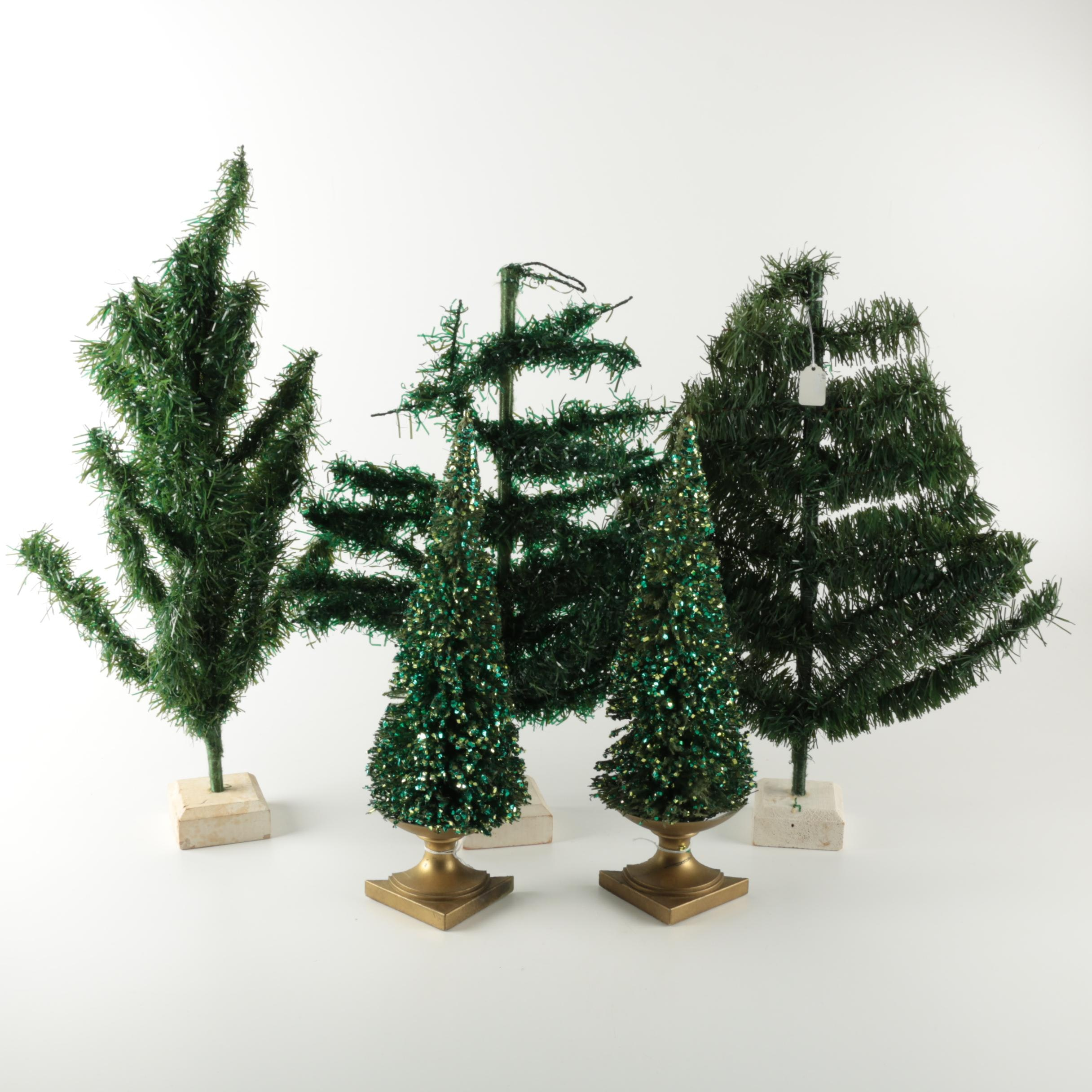 Assortment of Tabletop Plastic Christmas Trees