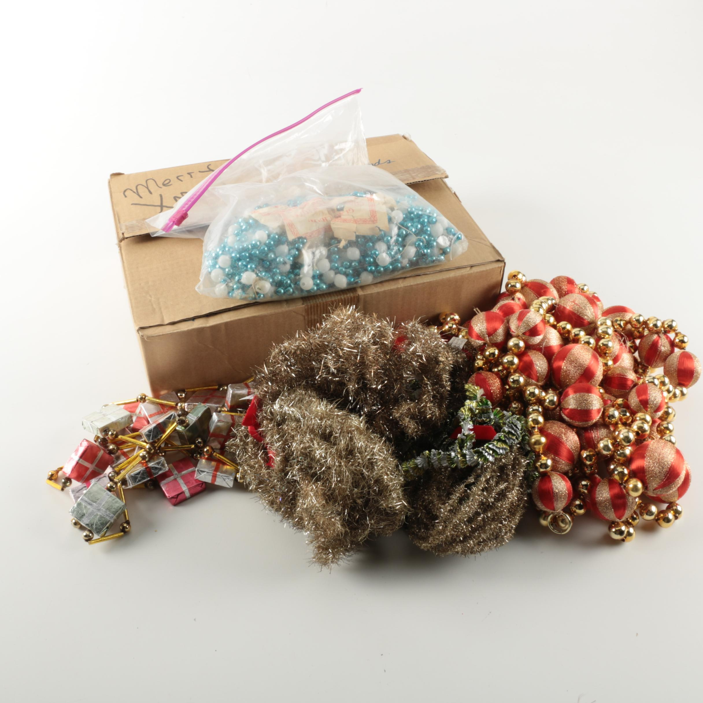 Assorted Christmas Tree Tinsel and Beads
