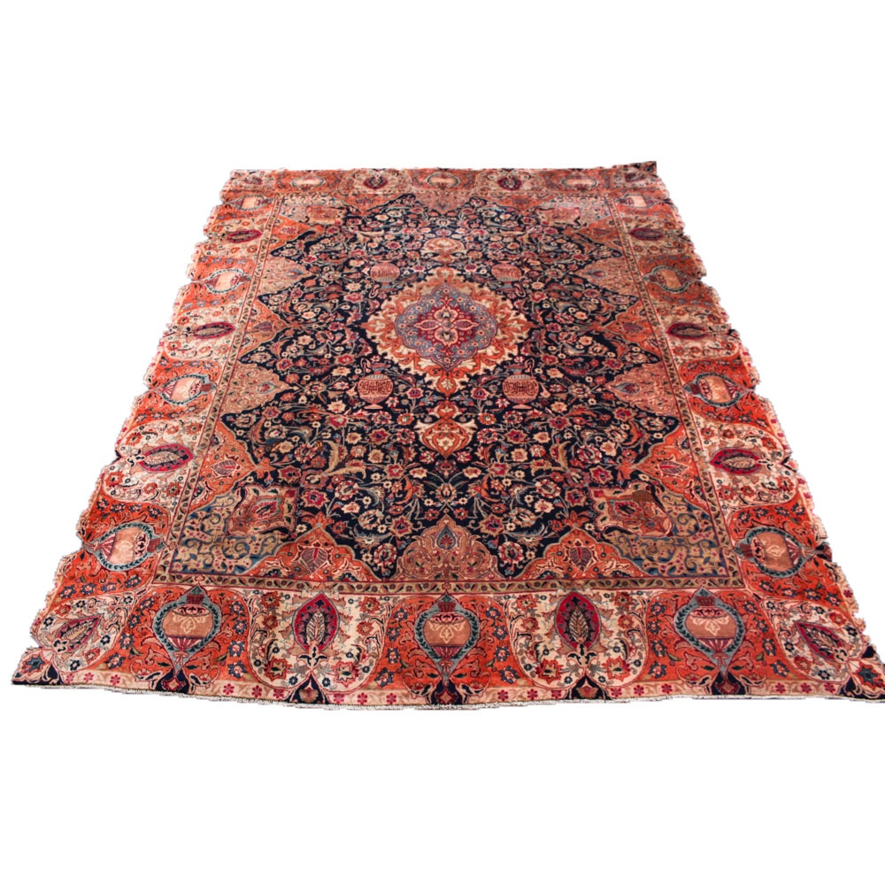 9' x 12' Hand-Knotted Persian Kashmar Pictorial Room Size Rug