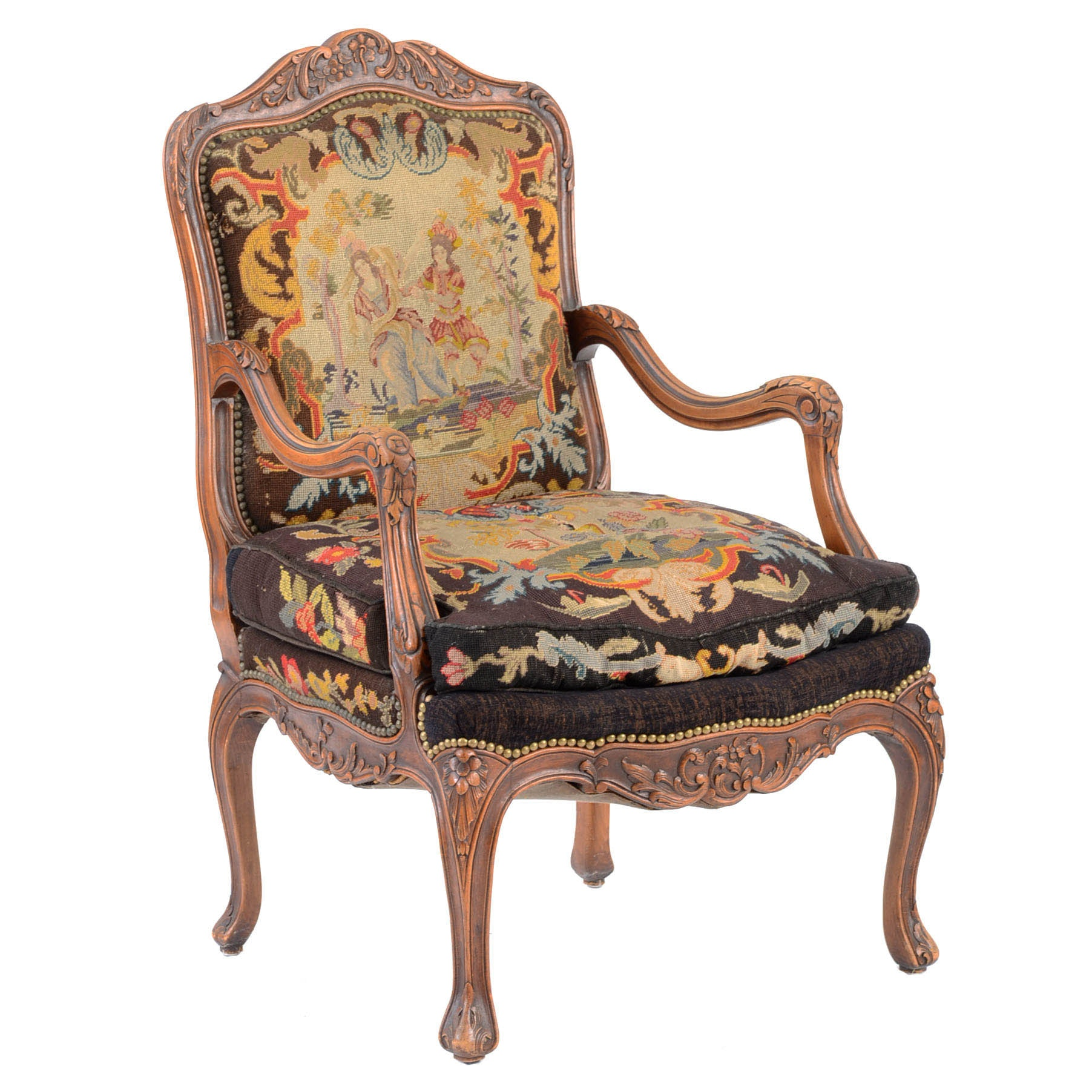 Vintage Louis Xv Style Carved Beech And Petit Point Open