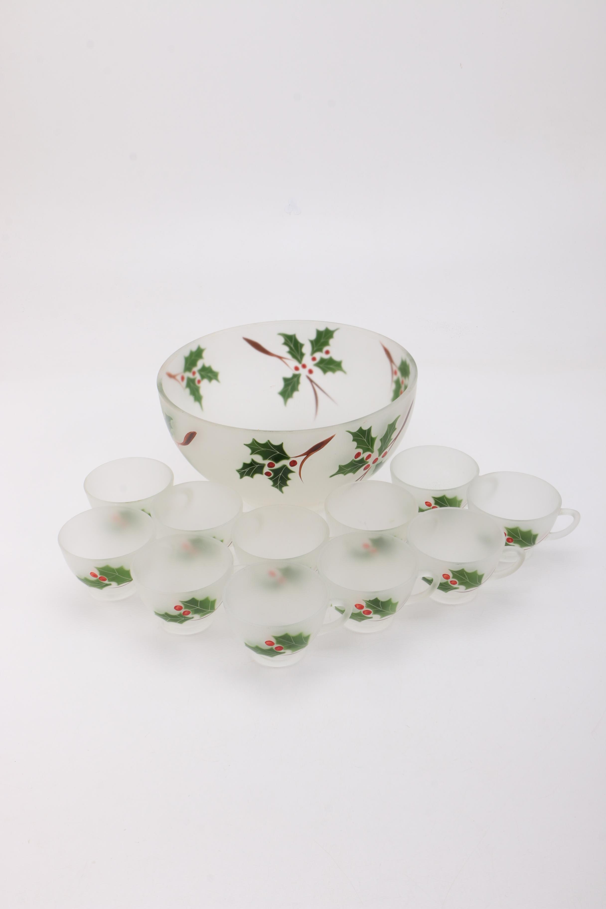 Frosted Glass Holiday Punch Bowl Set