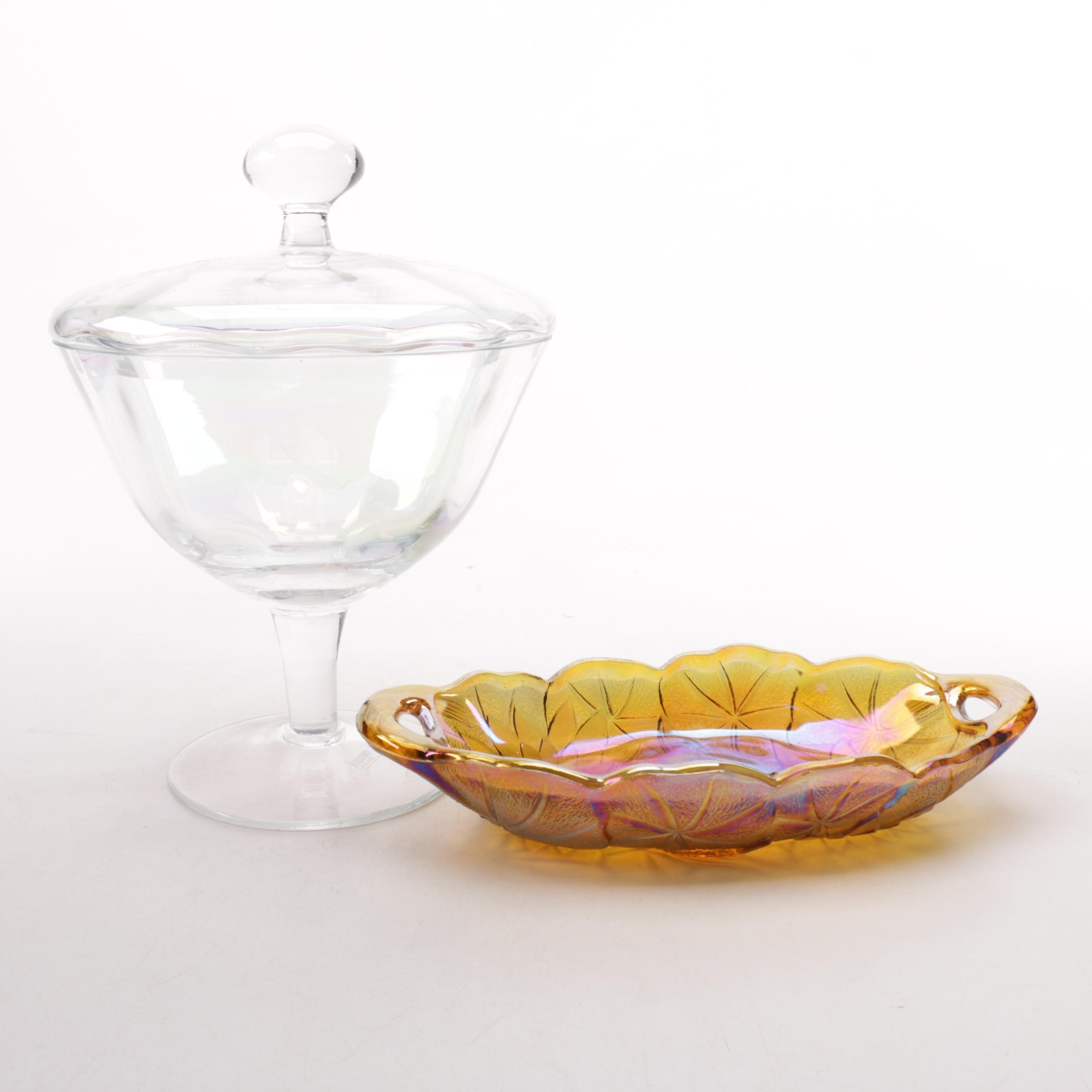 Krosno Crystal Candy Dish And Carnival Glass Tray Ebth