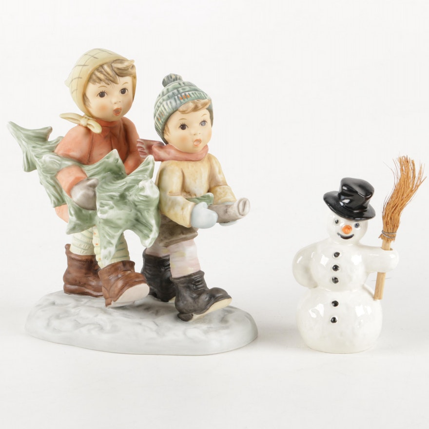 Vintage Goebel Tree Trimming Time And Snowman With Broom Figurines