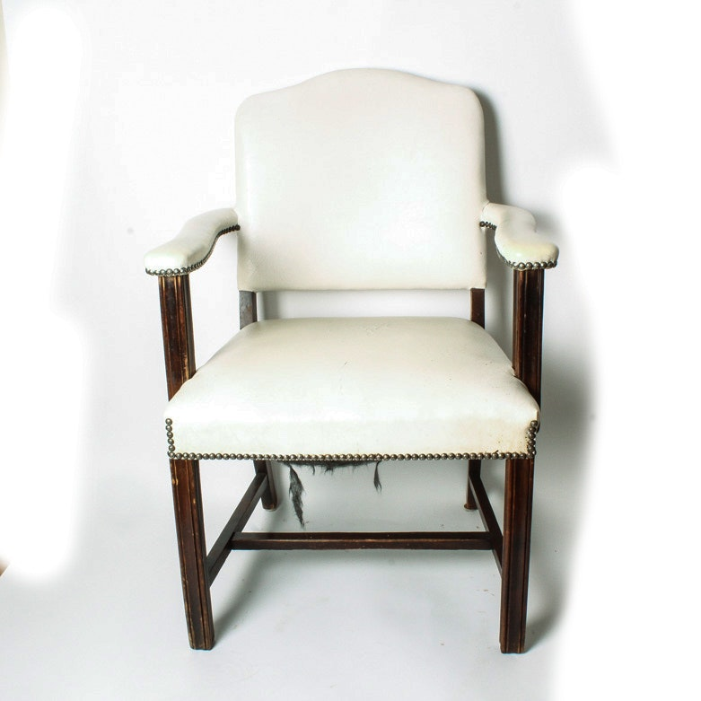 Vintage White Leather Arm Chair