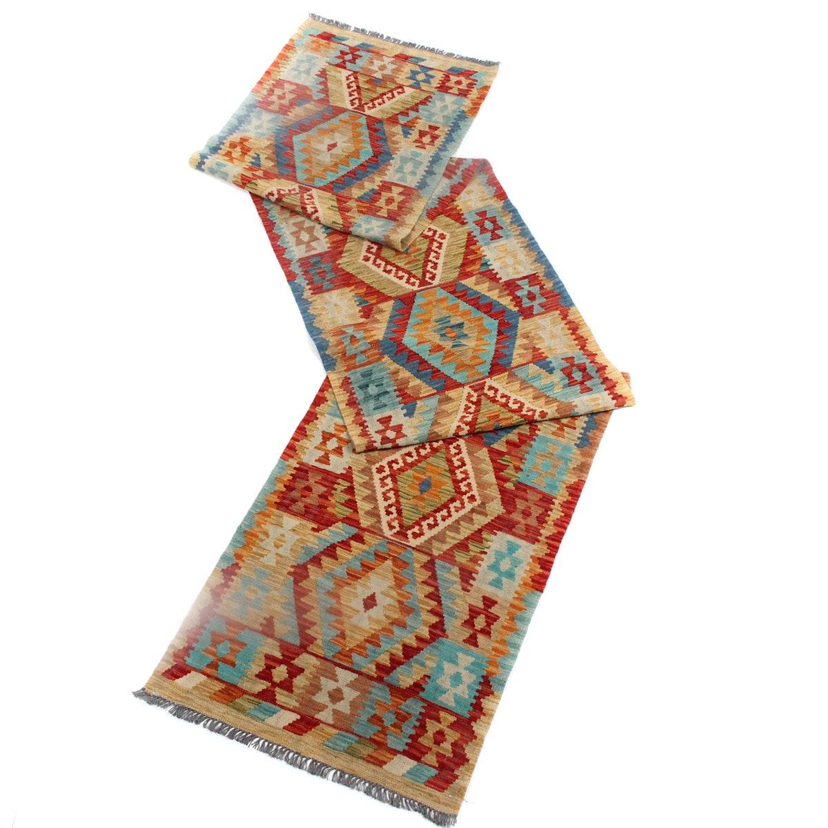 Bright Handwoven Kilim Carpet Runner