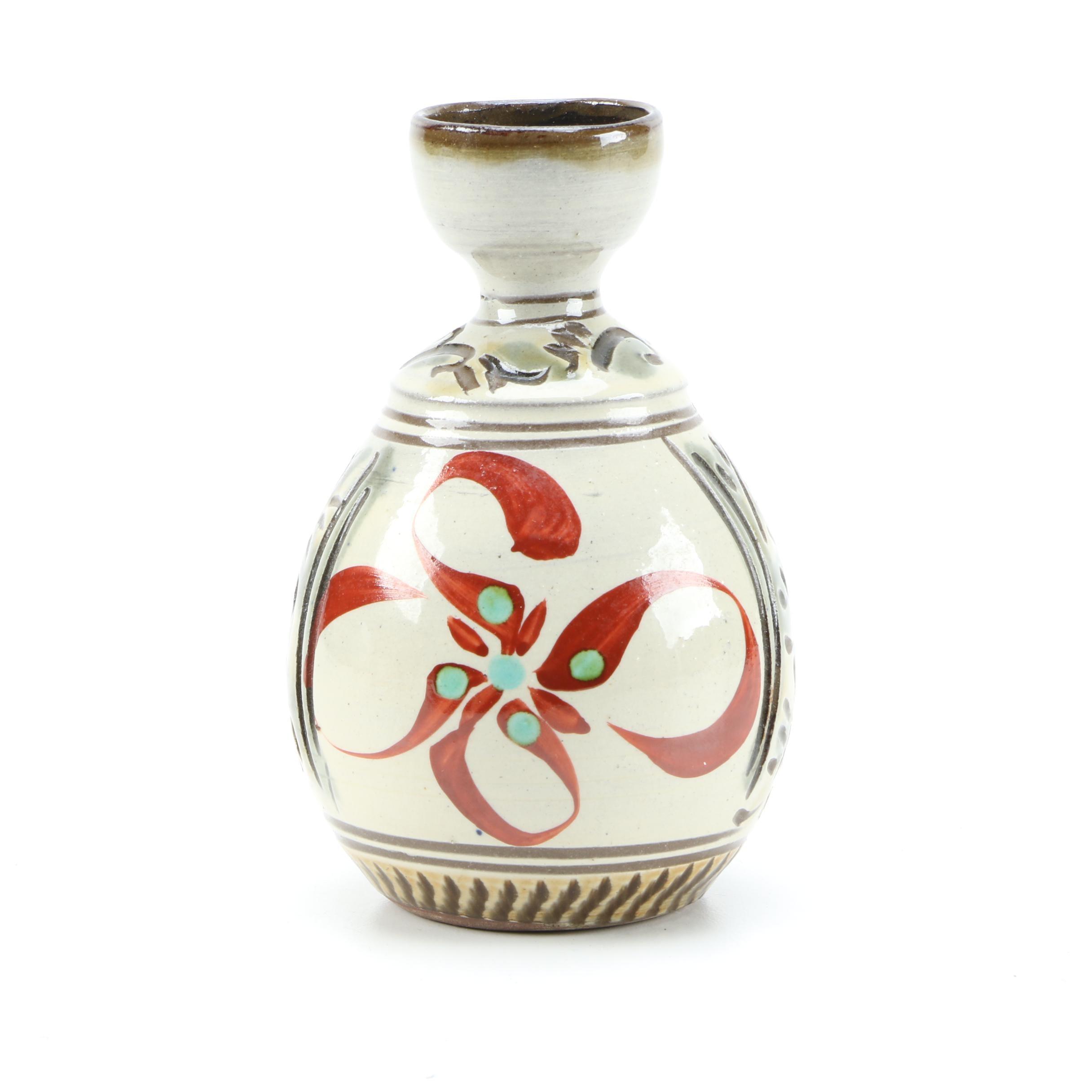 Hand-Painted Wheel Thrown Stoneware Vase