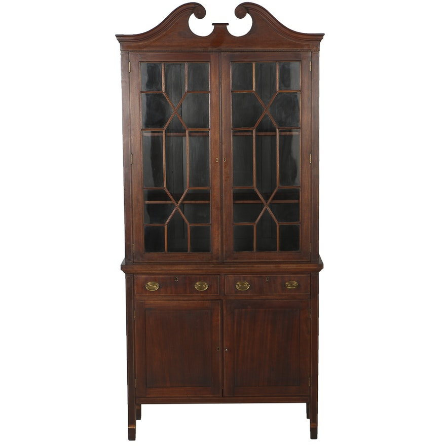 20th Century Mahogany China Cabinet With Fretwork Glass Doors Ebth