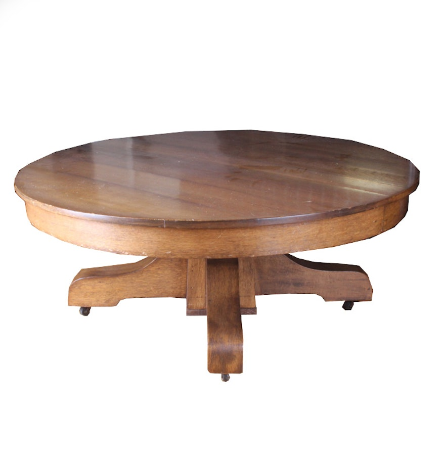 Mission Style Round Oak Pedestal Coffee Table Ebth