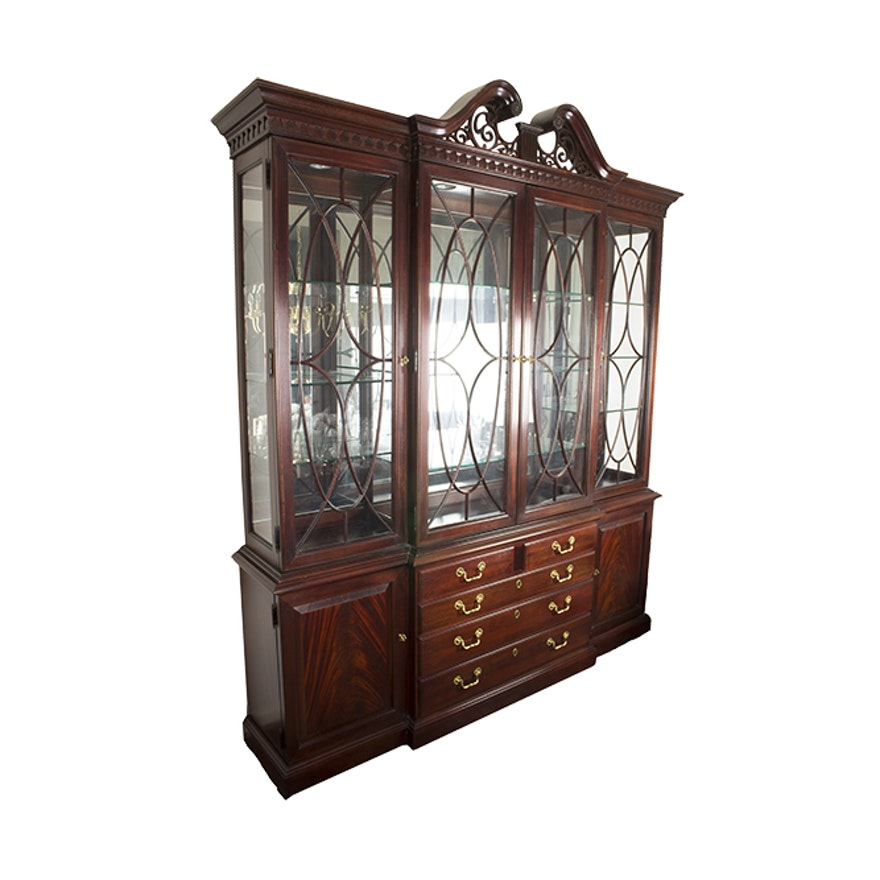 Federal Style Mahogany Breakfront China Cabinet By Thomasville Furniture Ebth
