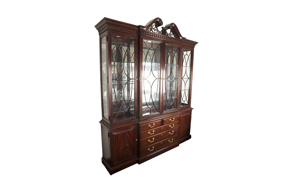Federal Style Mahogany Breakfront China Cabinet By Thomasville Furniture ...
