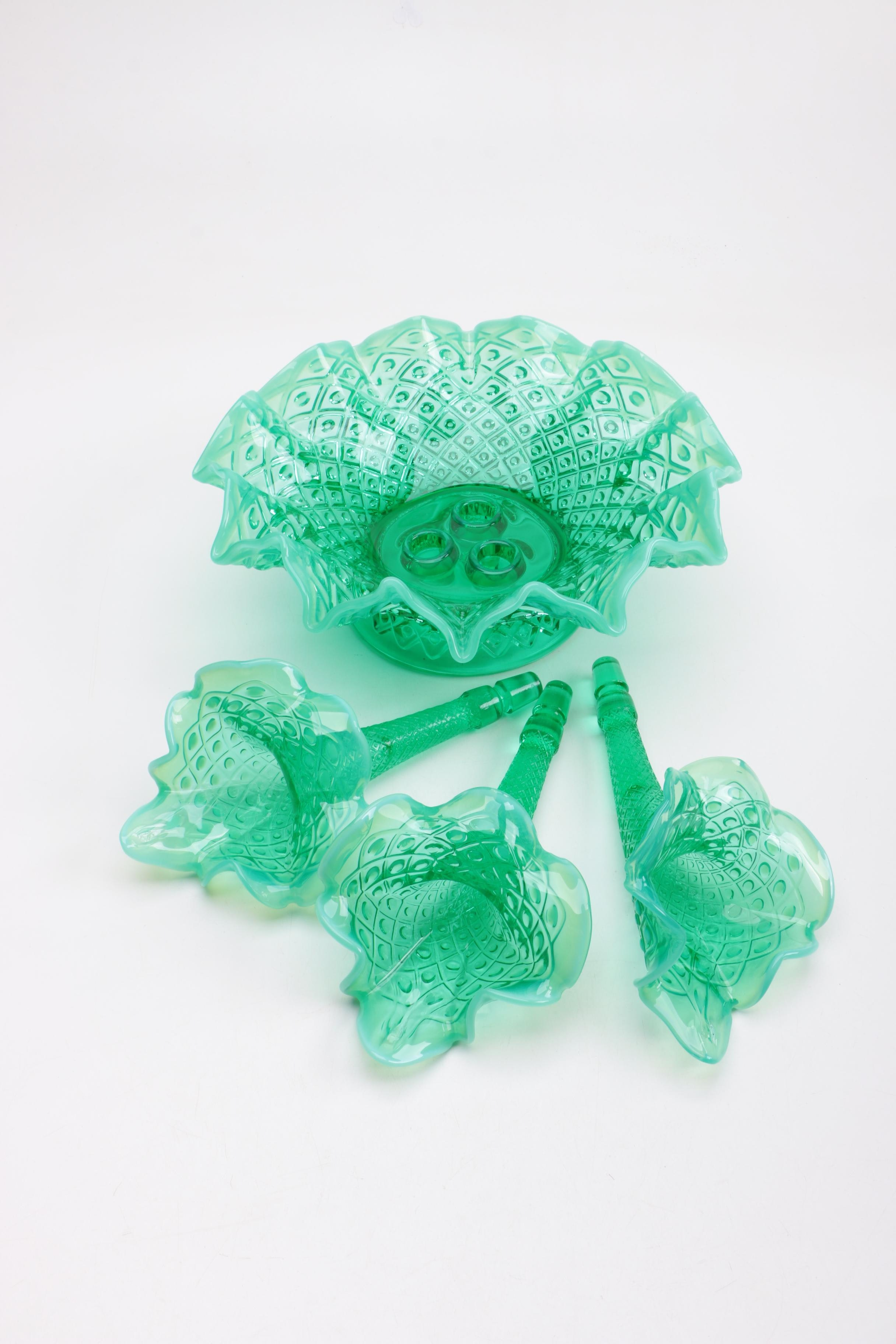 Fenton Teal Marigold Opalescent Quot Diamond Lace Quot Epergne Ebth