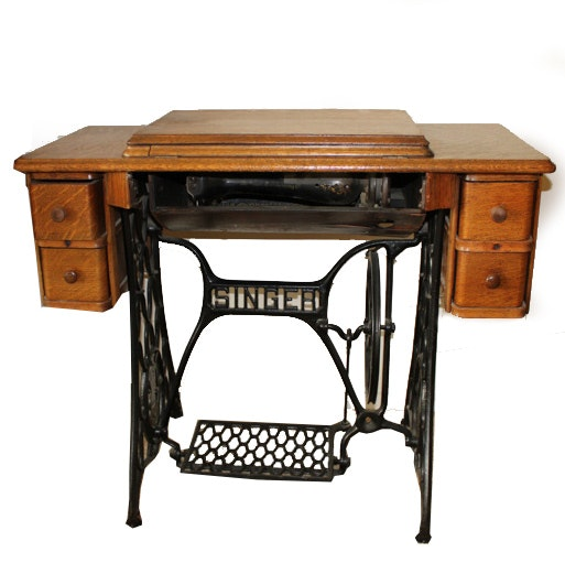 Antique Singer Sewing Machine and Tiger Oak Table