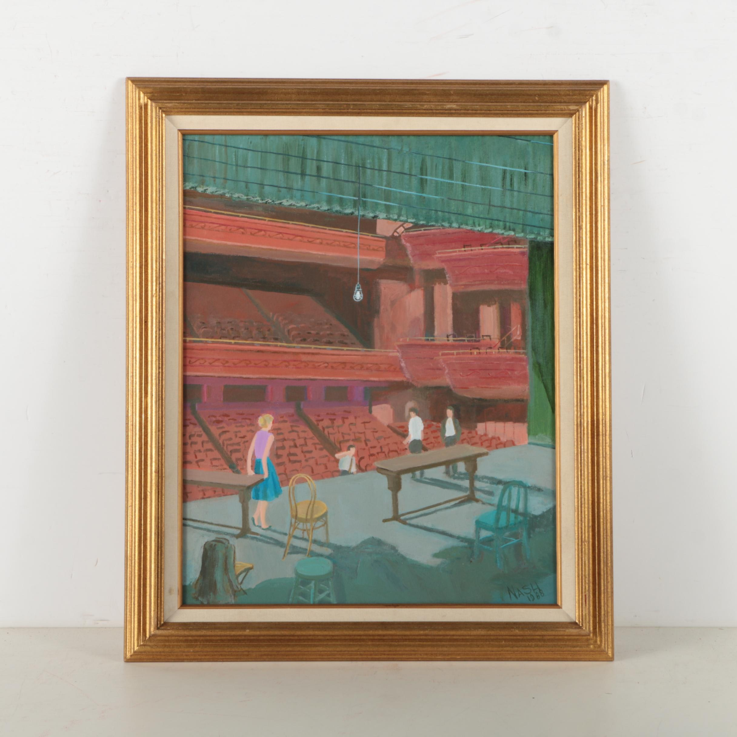 "G. Nash Oil Painting on Canvas ""The Rehearsal"""