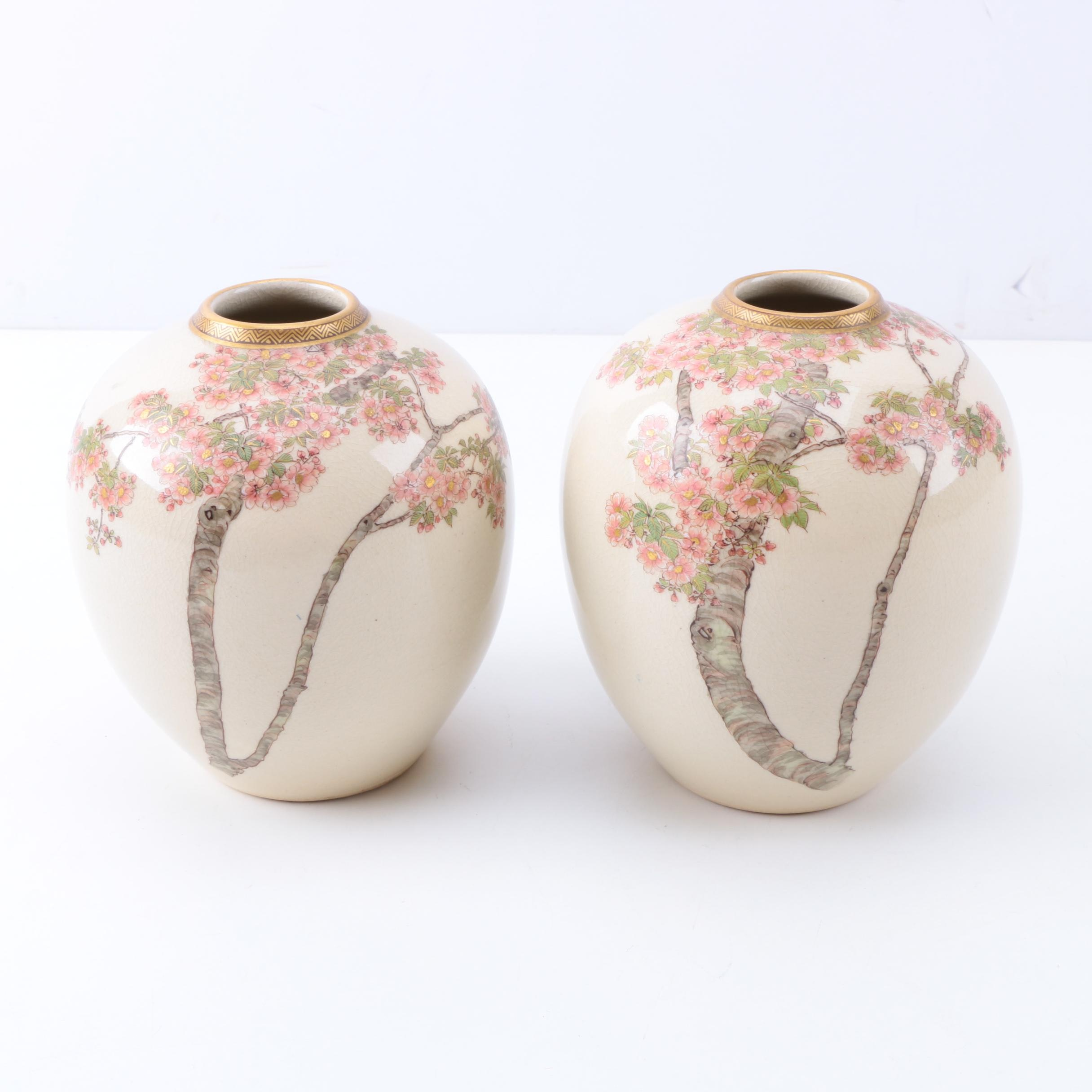 Pair of Japanese Vases with Hand-Painted Cherry Blossom Motif