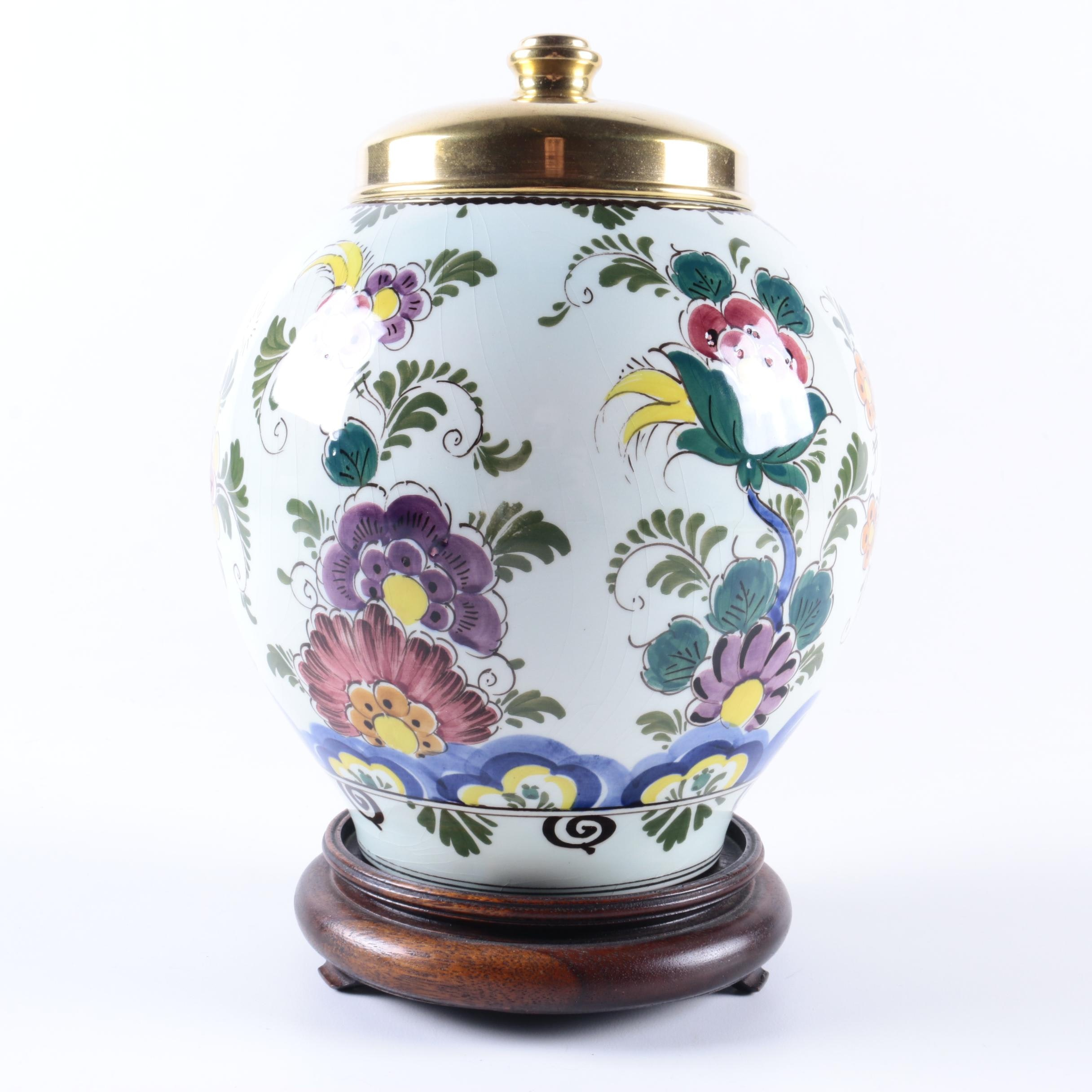 Velsen Delft Hand-Painted Tobacco Jar