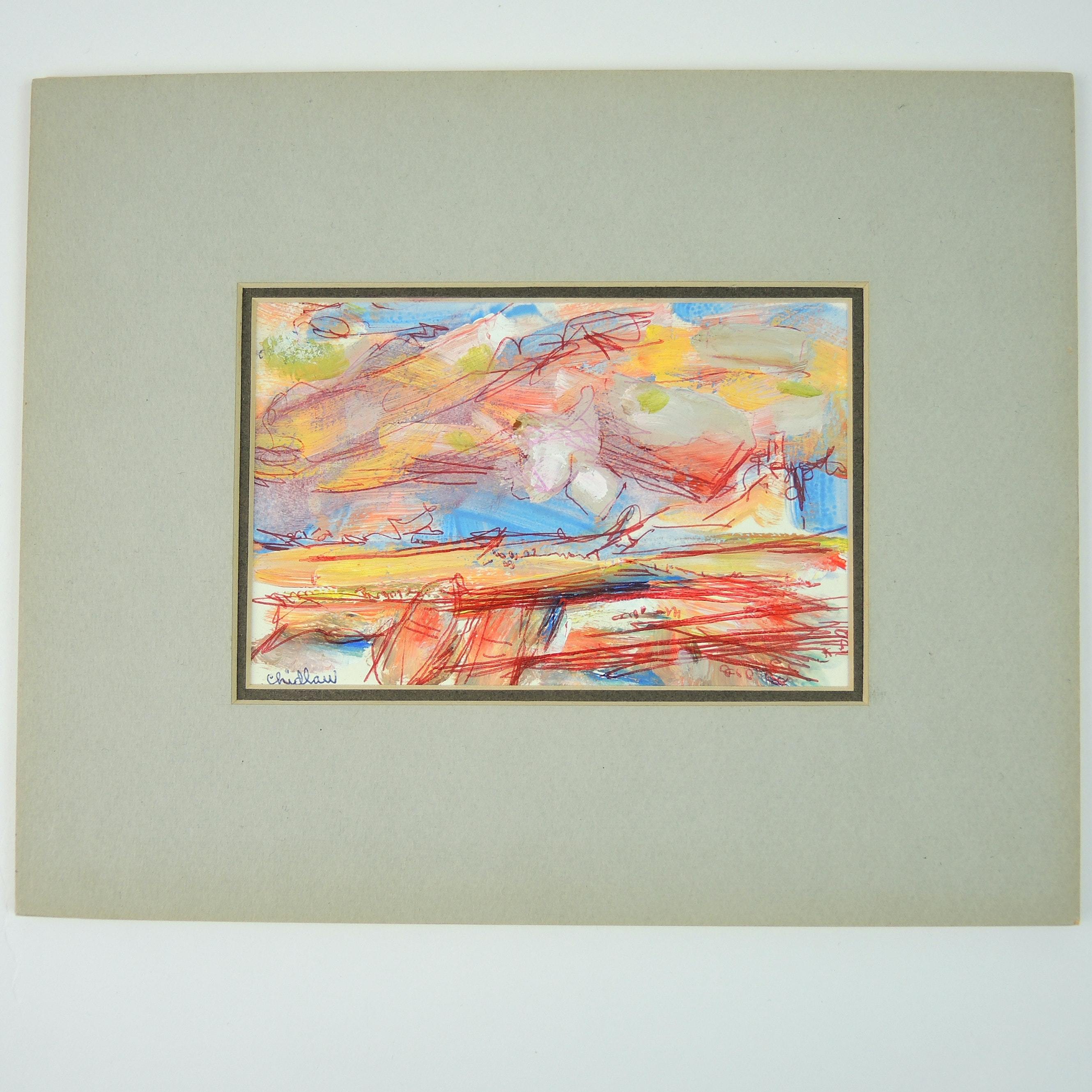Paul Chidlaw Mixed Media Painting on Paper Abstract Expressionism