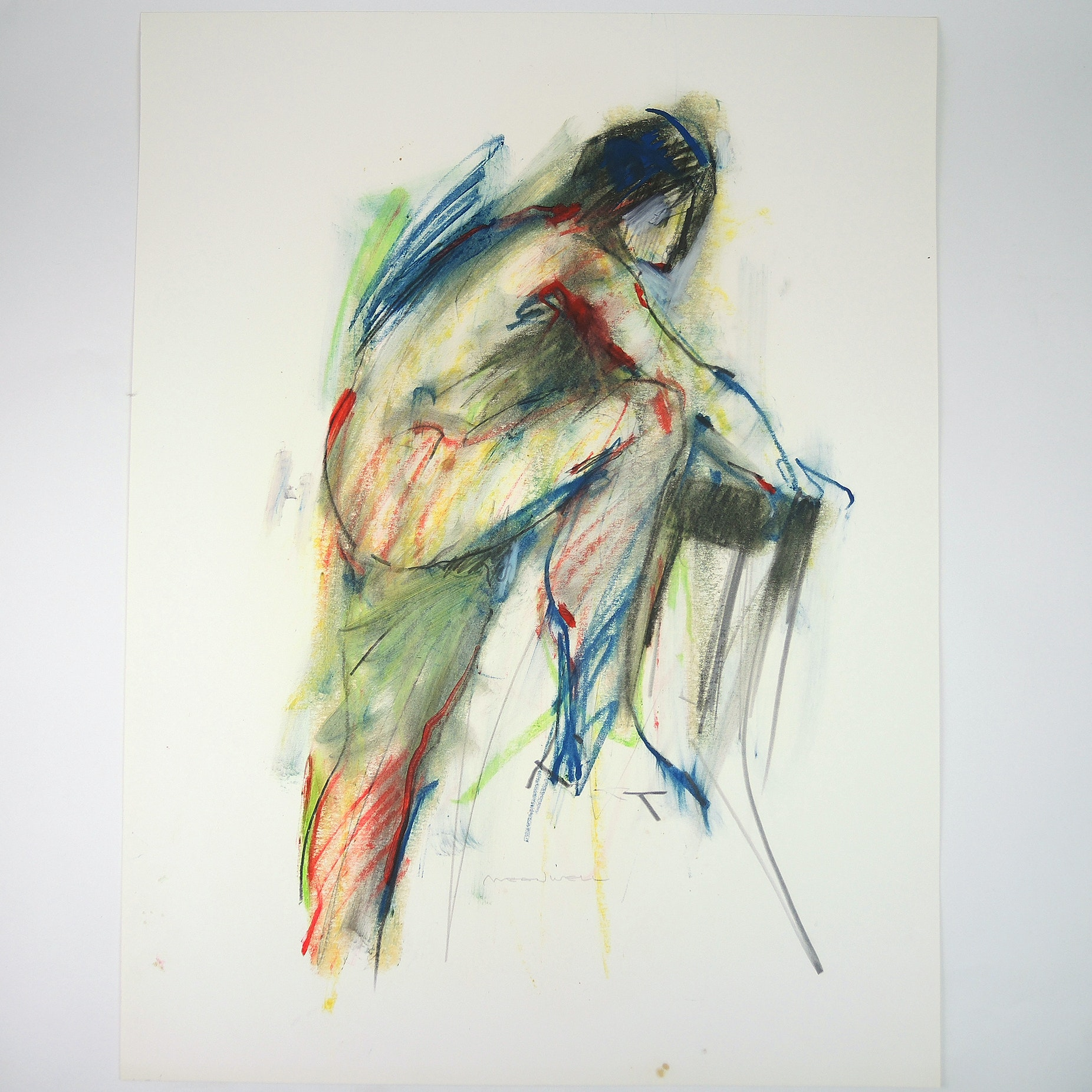 Jack Meanwell Mixed Media Drawing on Paper Gestural Nude Figure and Chair