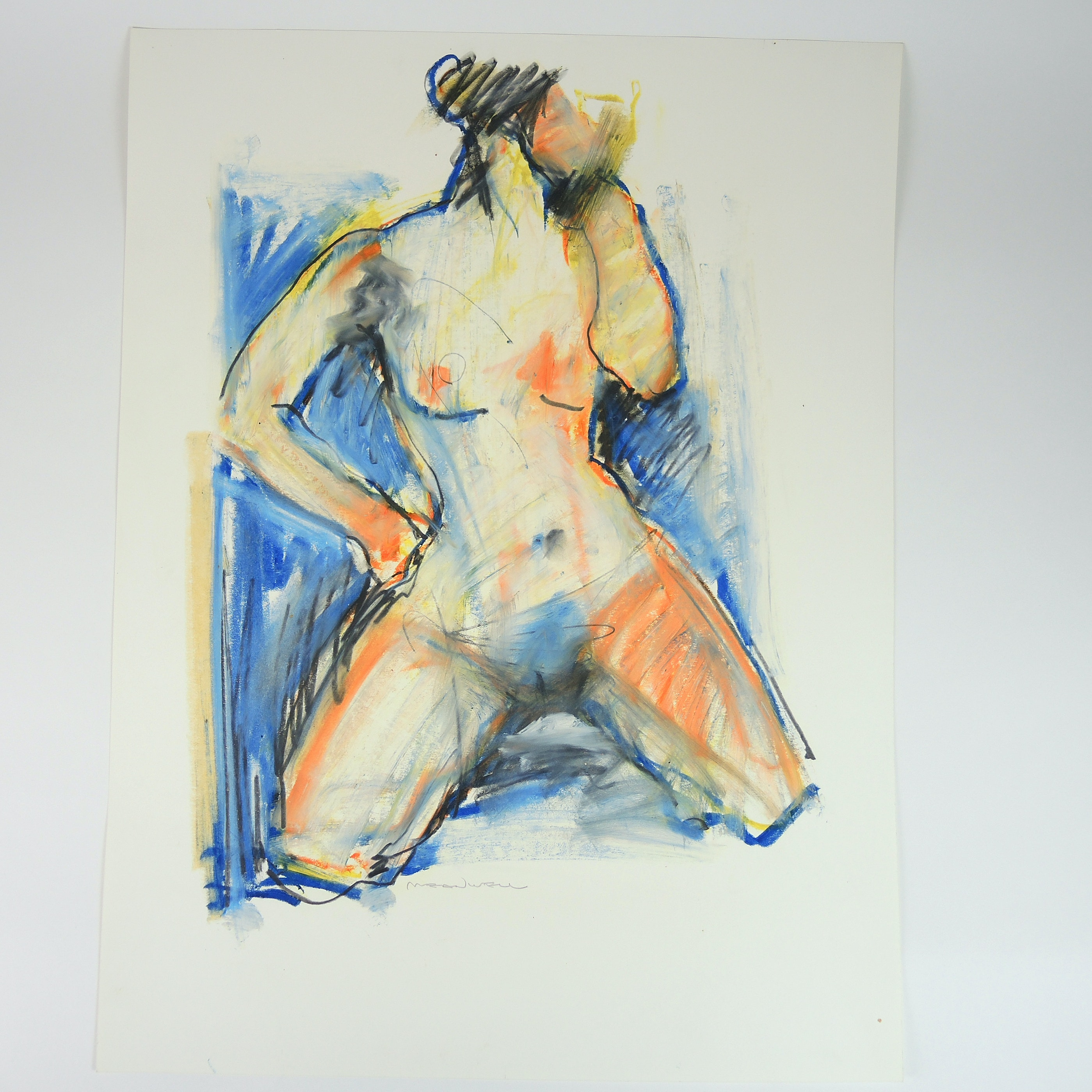 Jack Meanwell Mixed Media on Paper Abstract Expressionism Gestural Female Nude