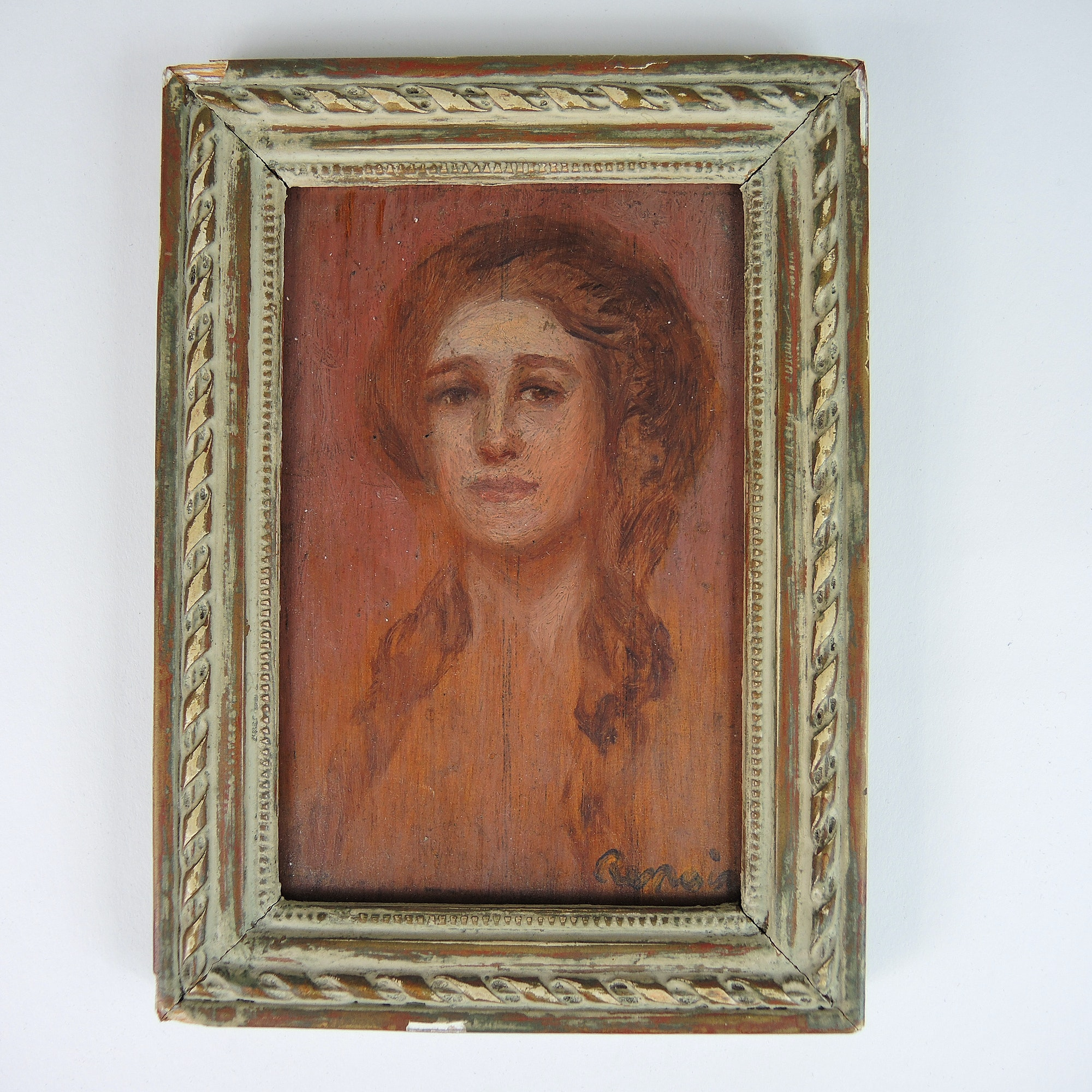 """Oil Painting on Wood Panel of A Woman in Portrait """"After Renoir"""""""