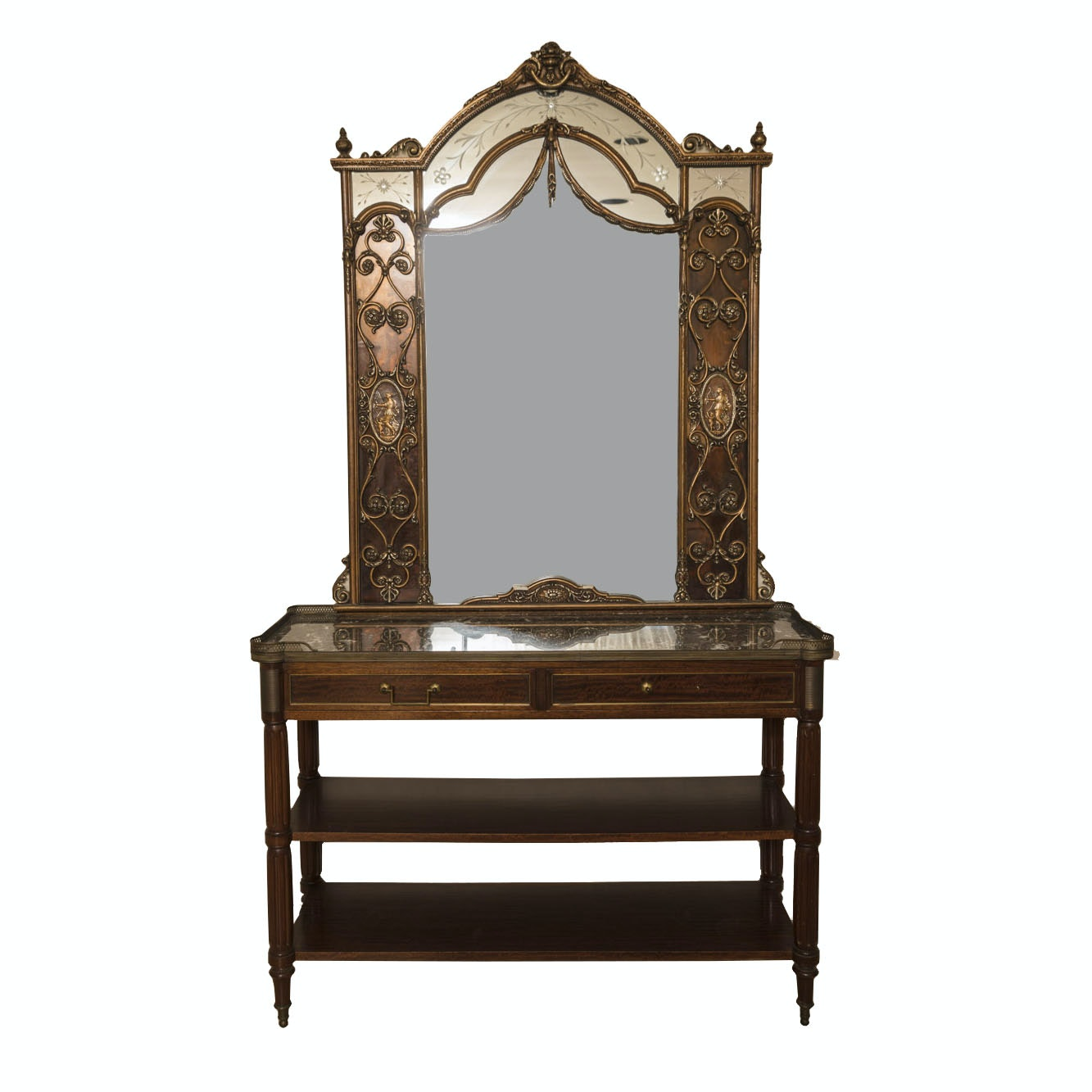 Louis XVI Style Mahogany Console With Neoclassical Gilt Mirror