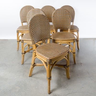 Six Bamboo and Leather Woven Chairs