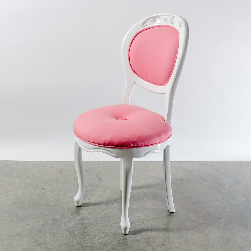 Victorian Style White Painted Side Chair